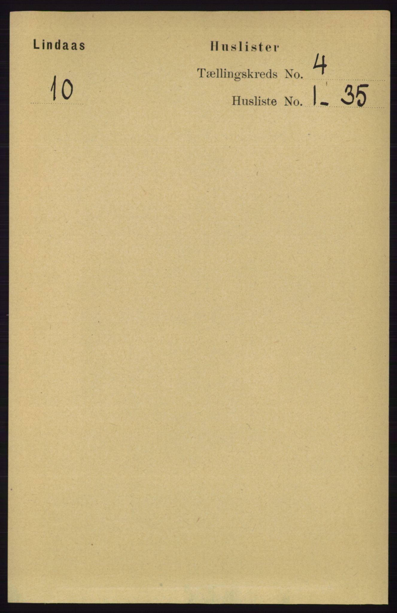 RA, Folketelling 1891 for 1263 Lindås herred, 1891, s. 1090