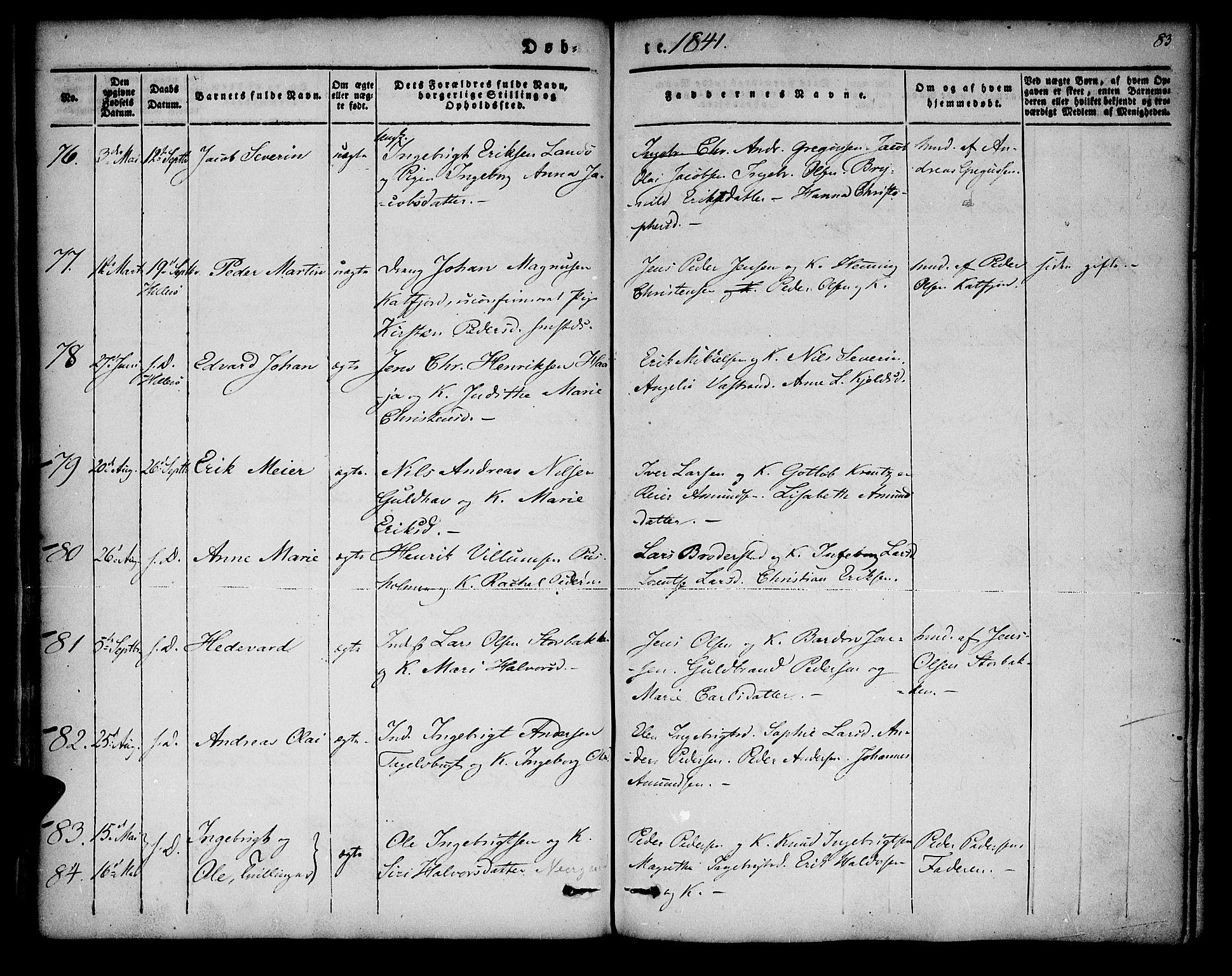 SATØ, Lenvik sokneprestembete, H/Ha/Haa/L0004kirke: Ministerialbok nr. 4, 1832-1844, s. 83