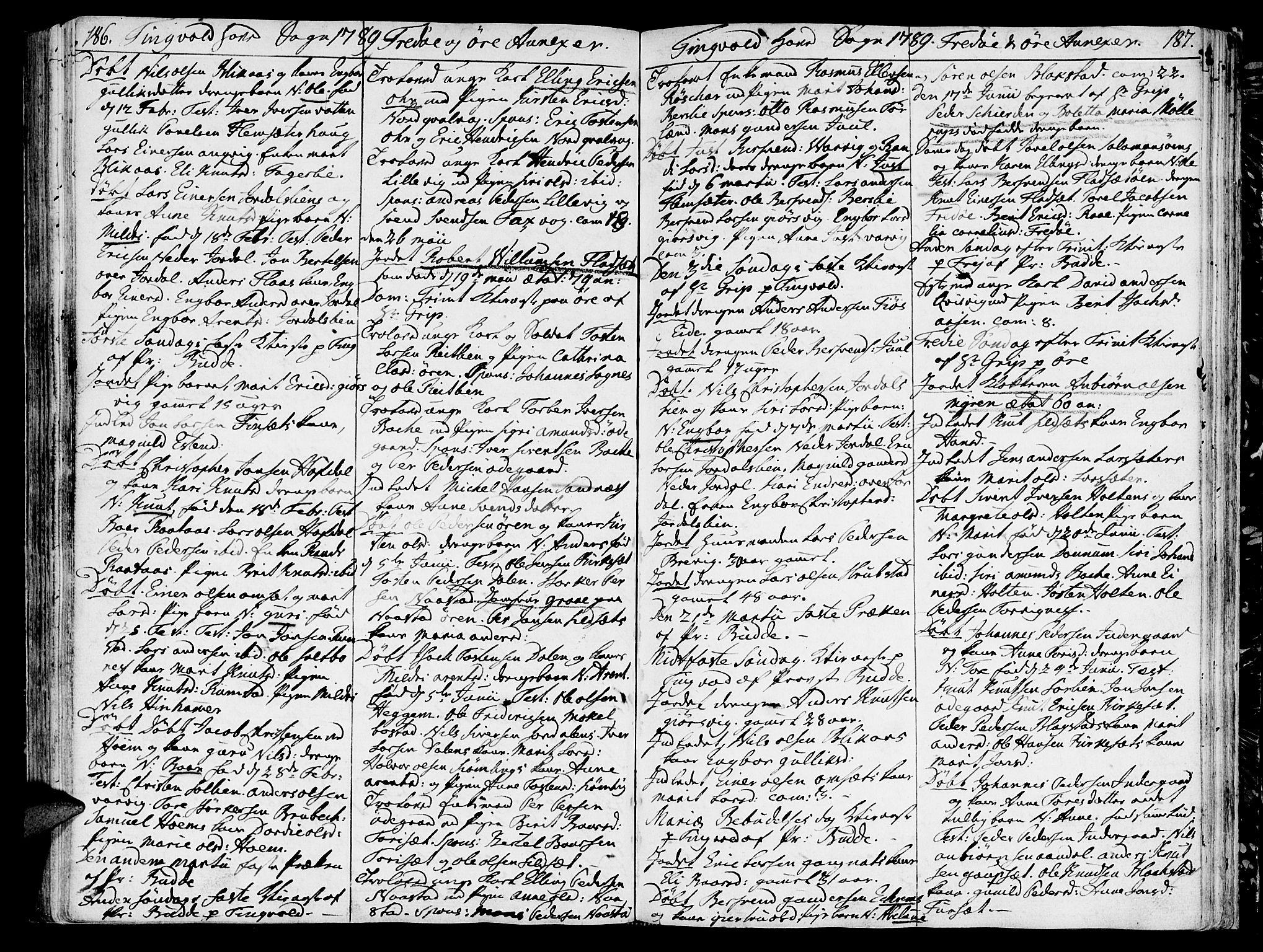 SAT, Ministerialprotokoller, klokkerbøker og fødselsregistre - Møre og Romsdal, 586/L0980: Ministerialbok nr. 586A06, 1776-1794, s. 186-187