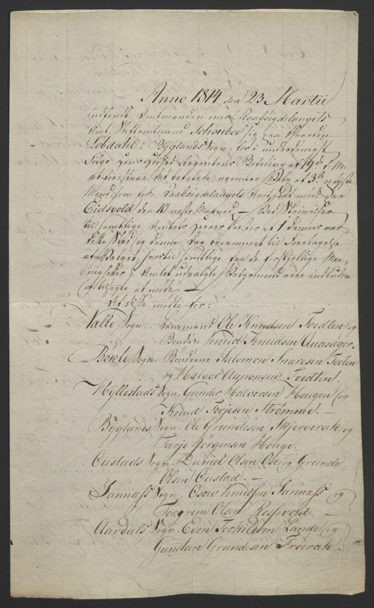 RA, Statsrådssekretariatet, D/Db/L0008: Fullmakter for Eidsvollsrepresentantene i 1814. , 1814, s. 103