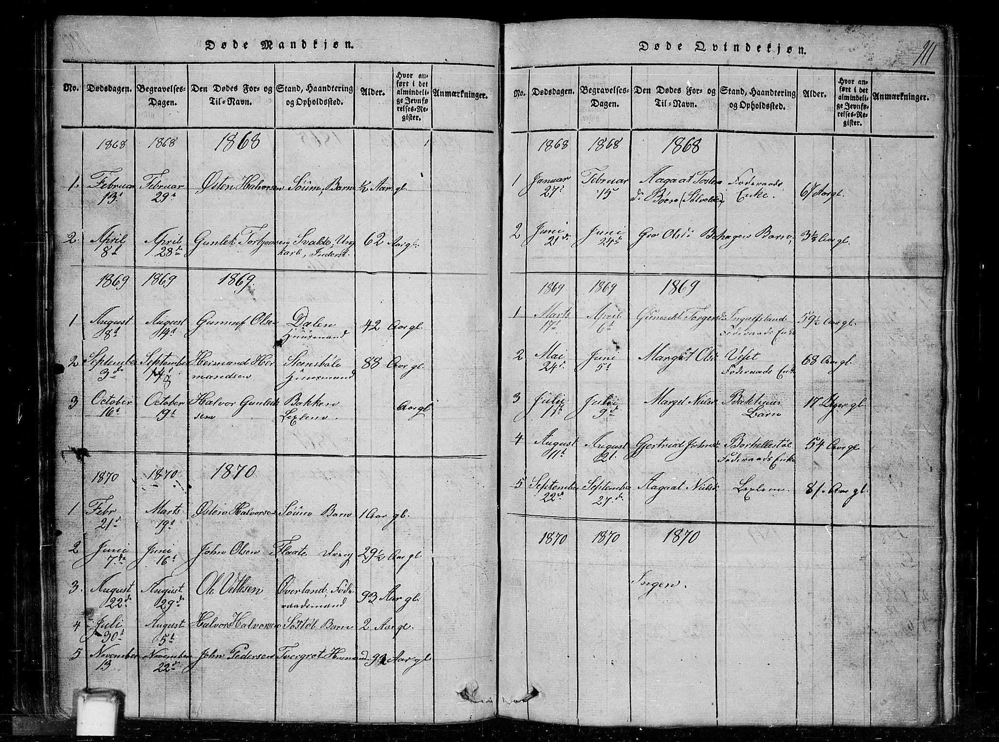 SAKO, Tinn kirkebøker, G/Gc/L0001: Klokkerbok nr. III 1, 1815-1879, s. 111