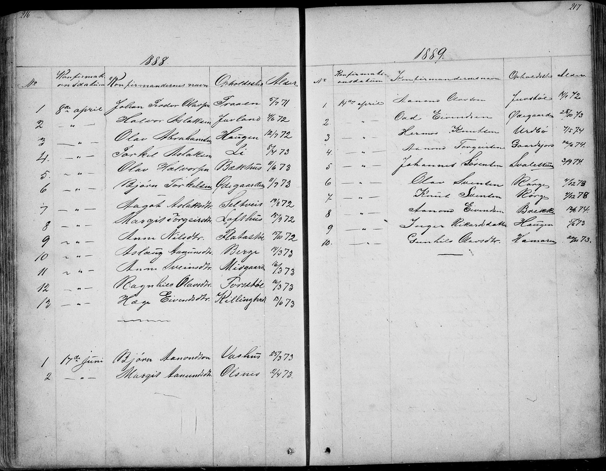 SAKO, Rauland kirkebøker, G/Ga/L0002: Klokkerbok nr. I 2, 1849-1935, s. 216-217