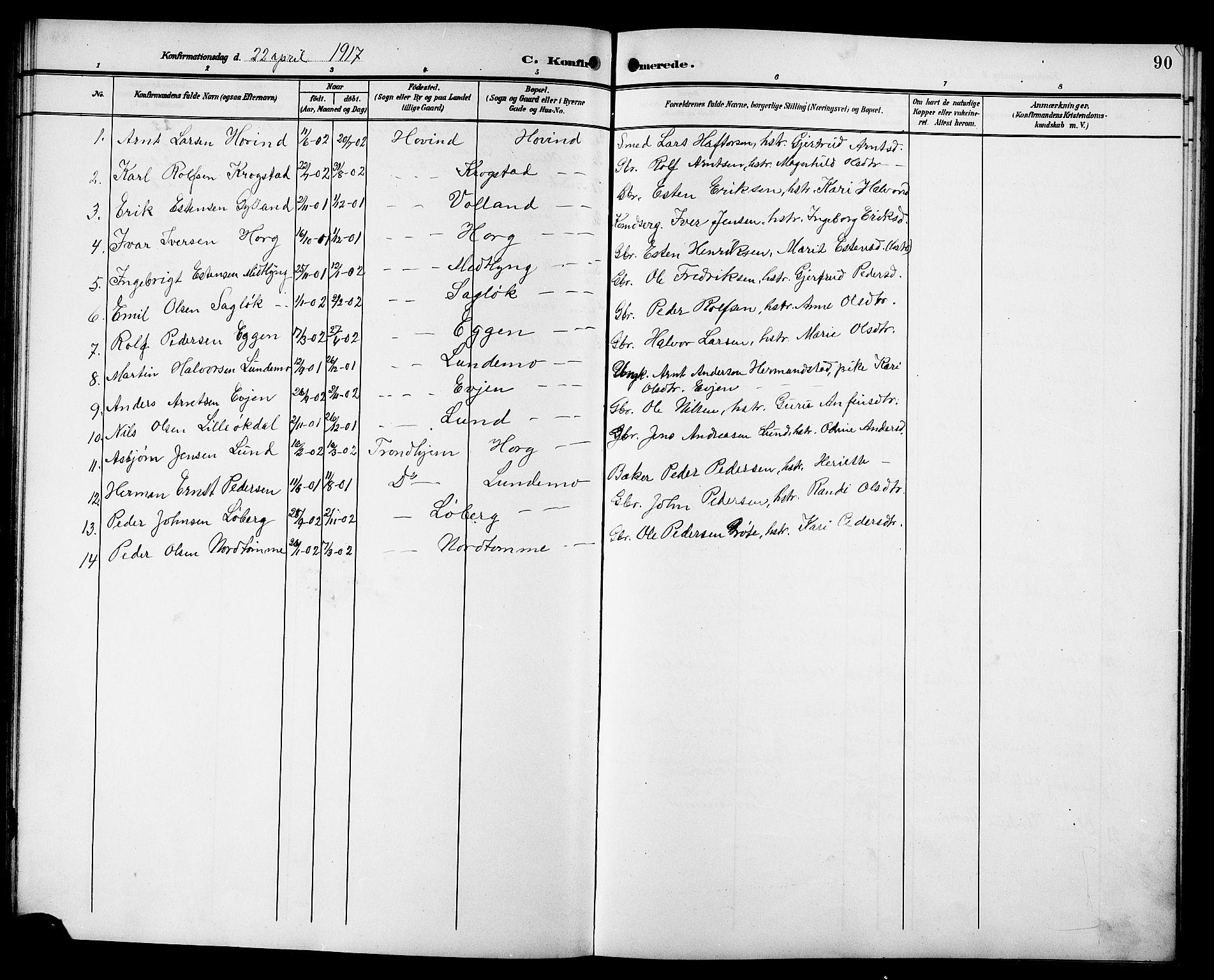 SAT, Ministerialprotokoller, klokkerbøker og fødselsregistre - Sør-Trøndelag, 692/L1112: Klokkerbok nr. 692C07, 1904-1918, s. 90