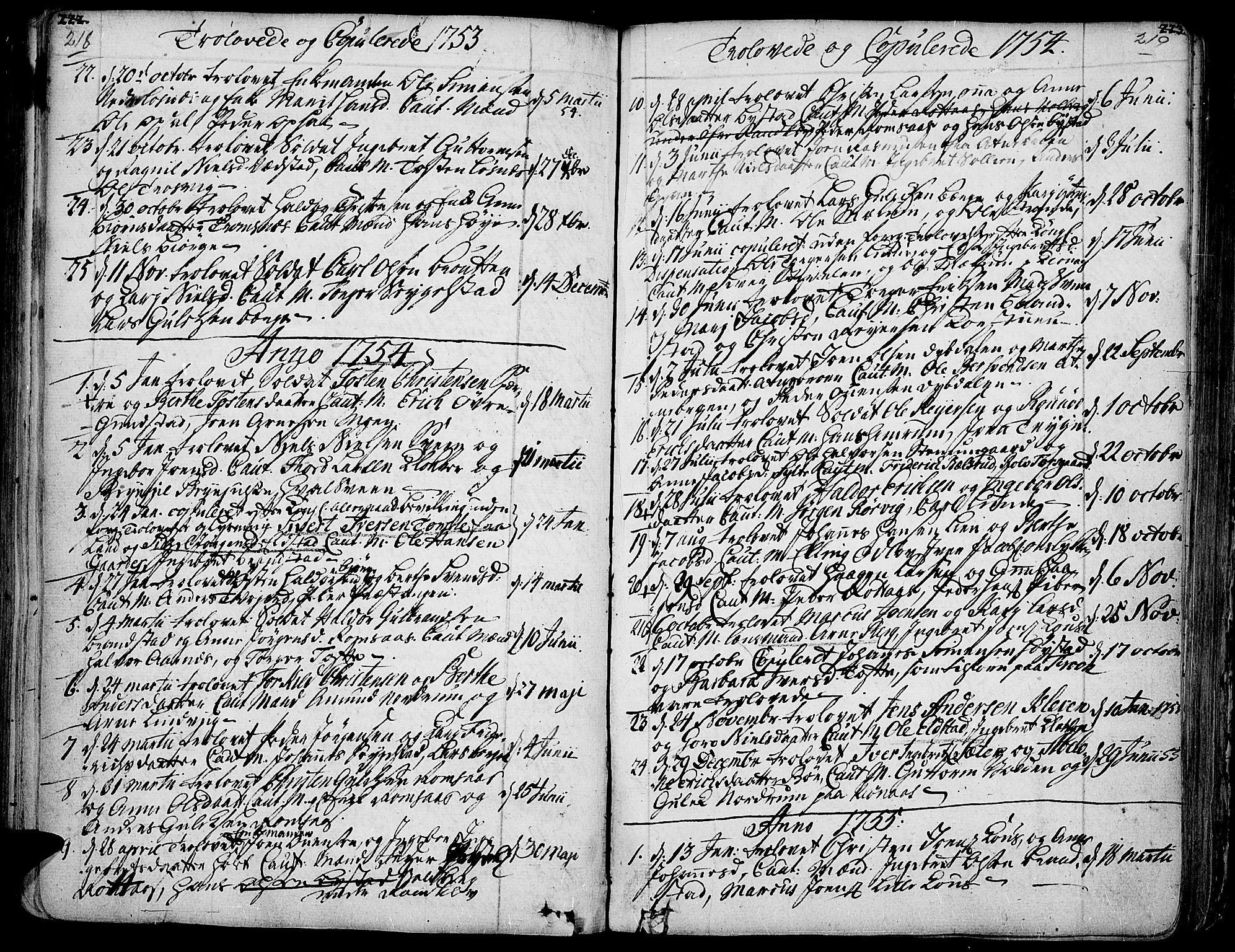 SAH, Ringebu prestekontor, Ministerialbok nr. 2, 1734-1780, s. 218-219