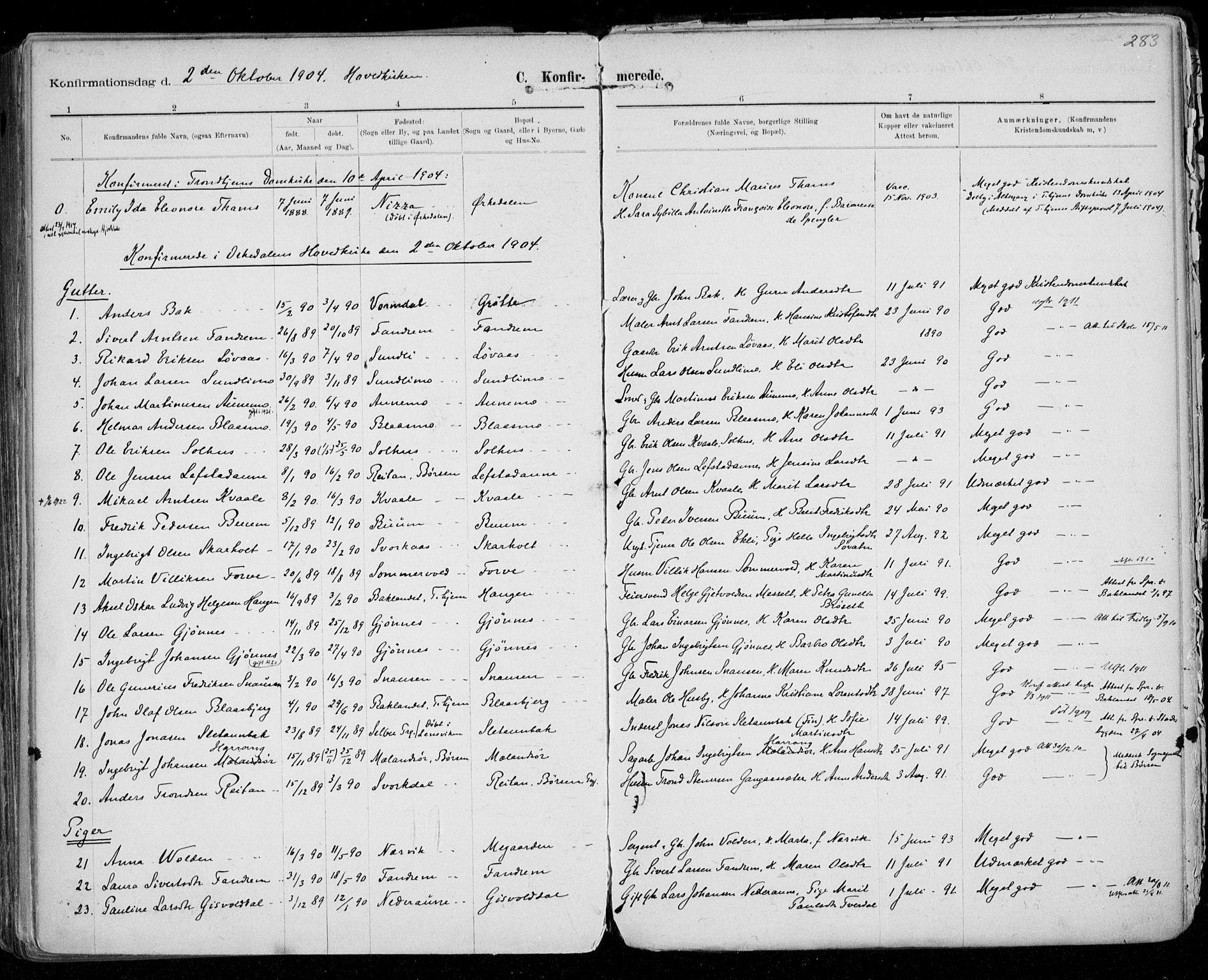 SAT, Ministerialprotokoller, klokkerbøker og fødselsregistre - Sør-Trøndelag, 668/L0811: Ministerialbok nr. 668A11, 1894-1913, s. 283