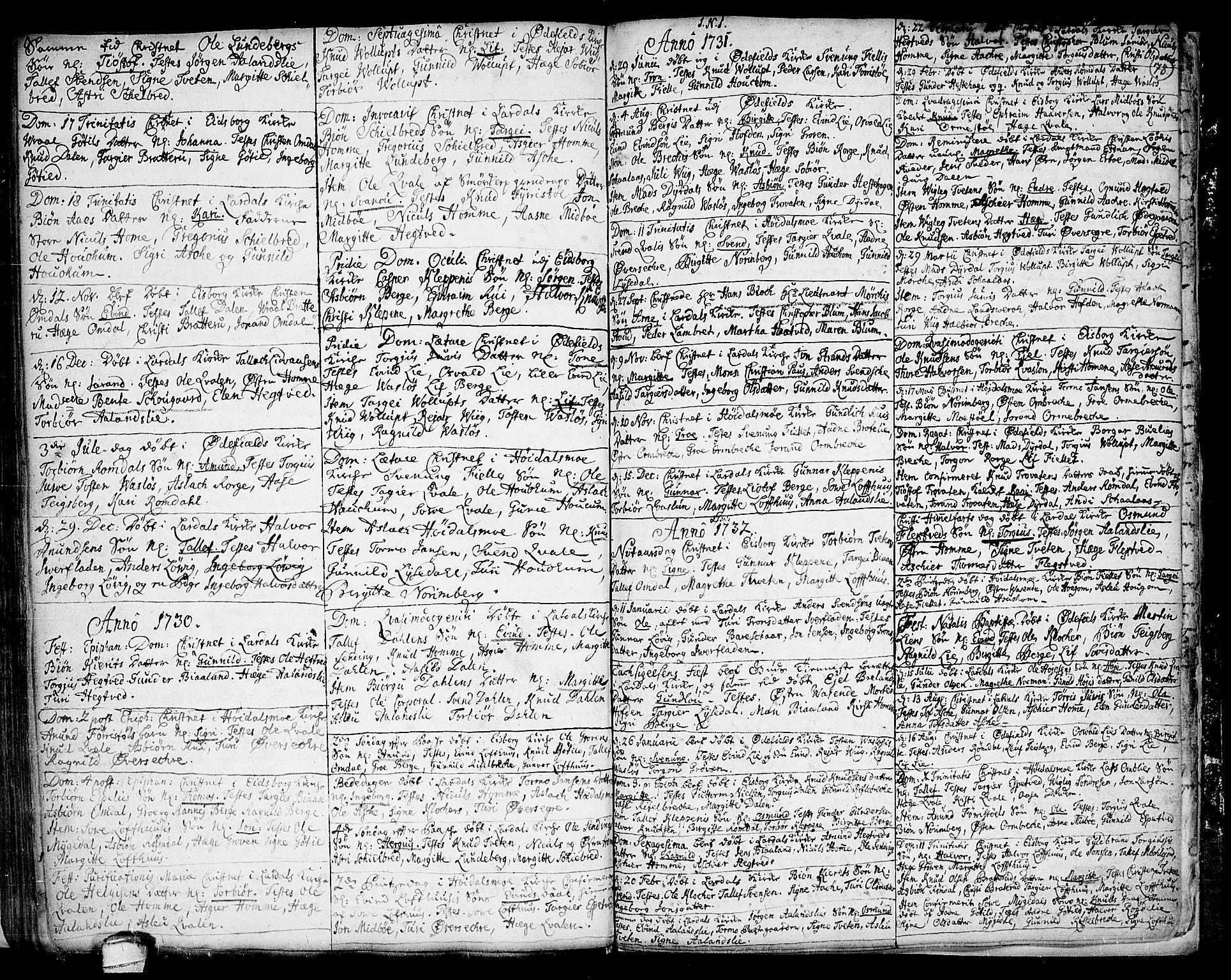 SAKO, Lårdal kirkebøker, F/Fa/L0001: Ministerialbok nr. I 1, 1721-1734, s. 78