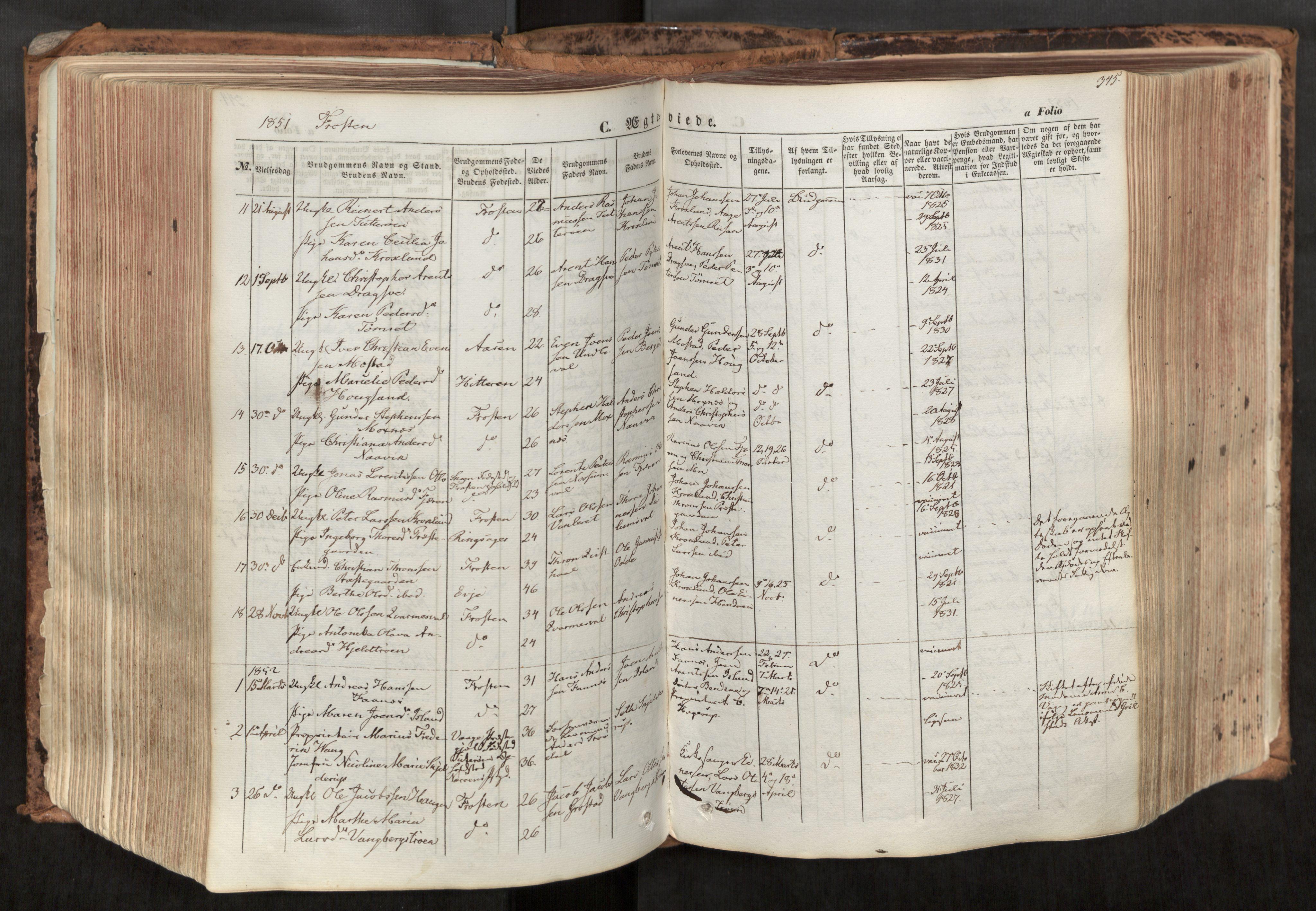 SAT, Ministerialprotokoller, klokkerbøker og fødselsregistre - Nord-Trøndelag, 713/L0116: Ministerialbok nr. 713A07, 1850-1877, s. 345