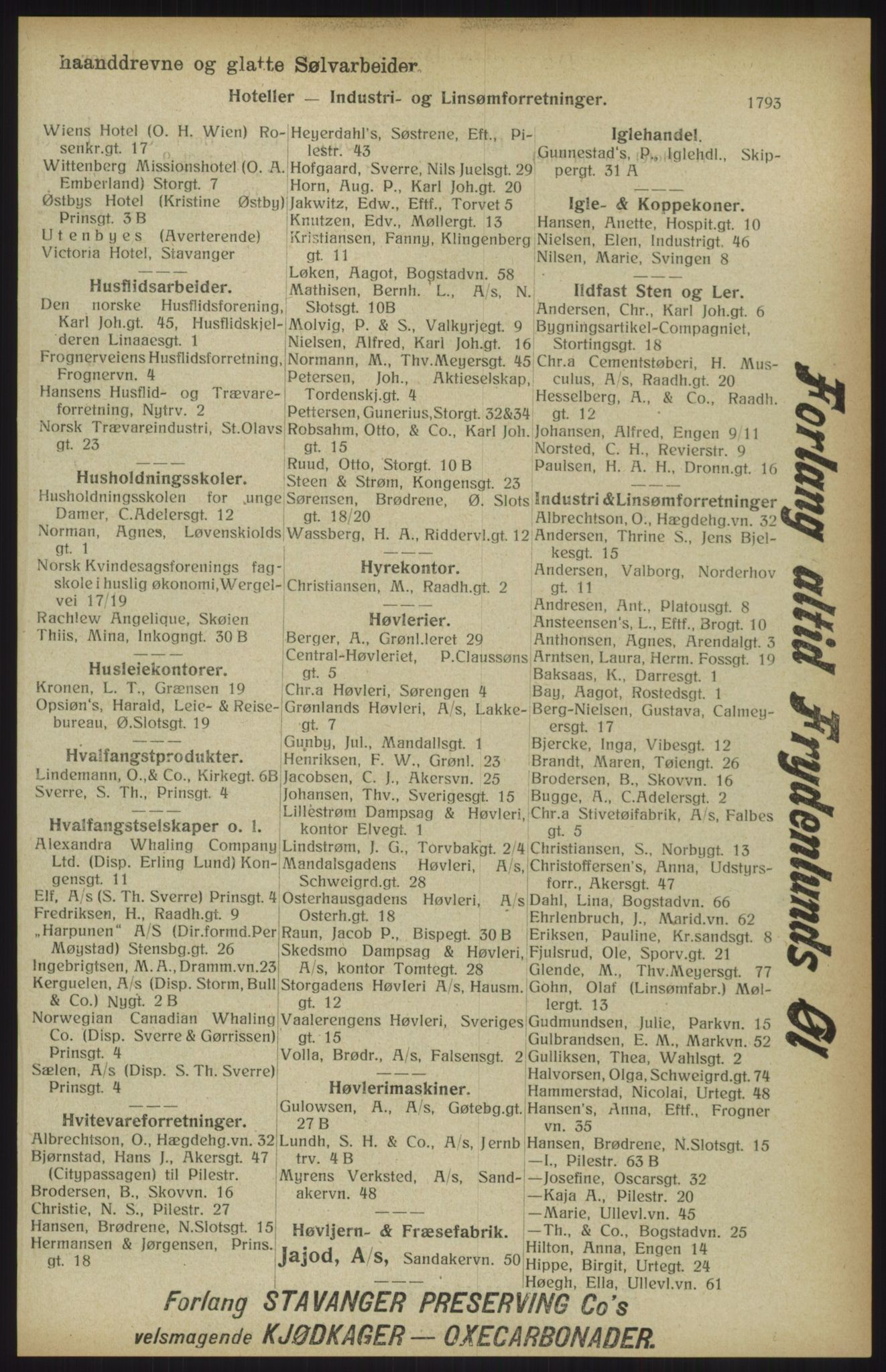 RA, Kristiania adressebok (publikasjon)*, 1914, s. 1793