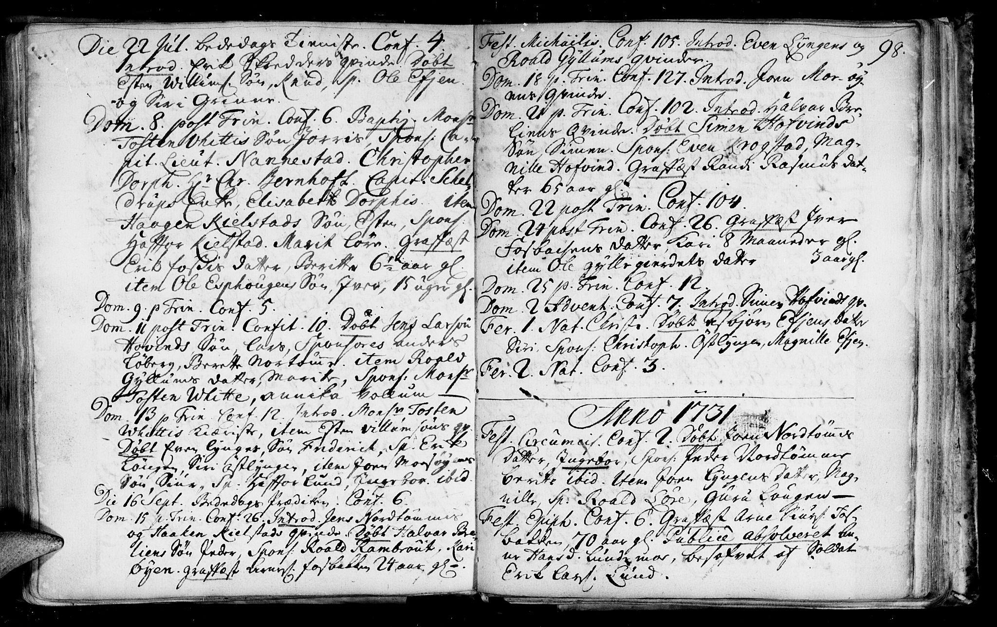 SAT, Ministerialprotokoller, klokkerbøker og fødselsregistre - Sør-Trøndelag, 692/L1101: Ministerialbok nr. 692A01, 1690-1746, s. 98
