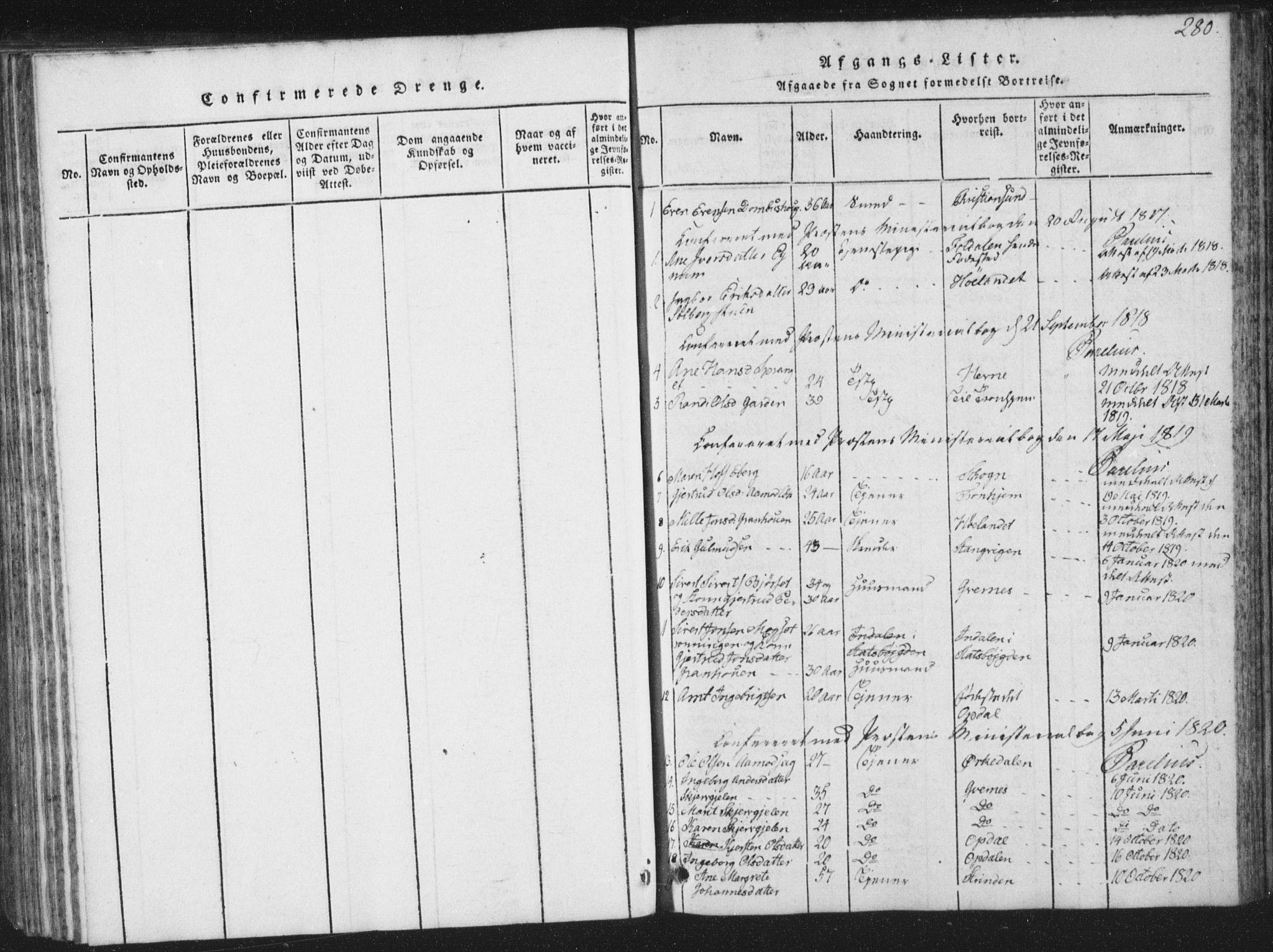 SAT, Ministerialprotokoller, klokkerbøker og fødselsregistre - Sør-Trøndelag, 672/L0862: Klokkerbok nr. 672C01, 1816-1831, s. 280