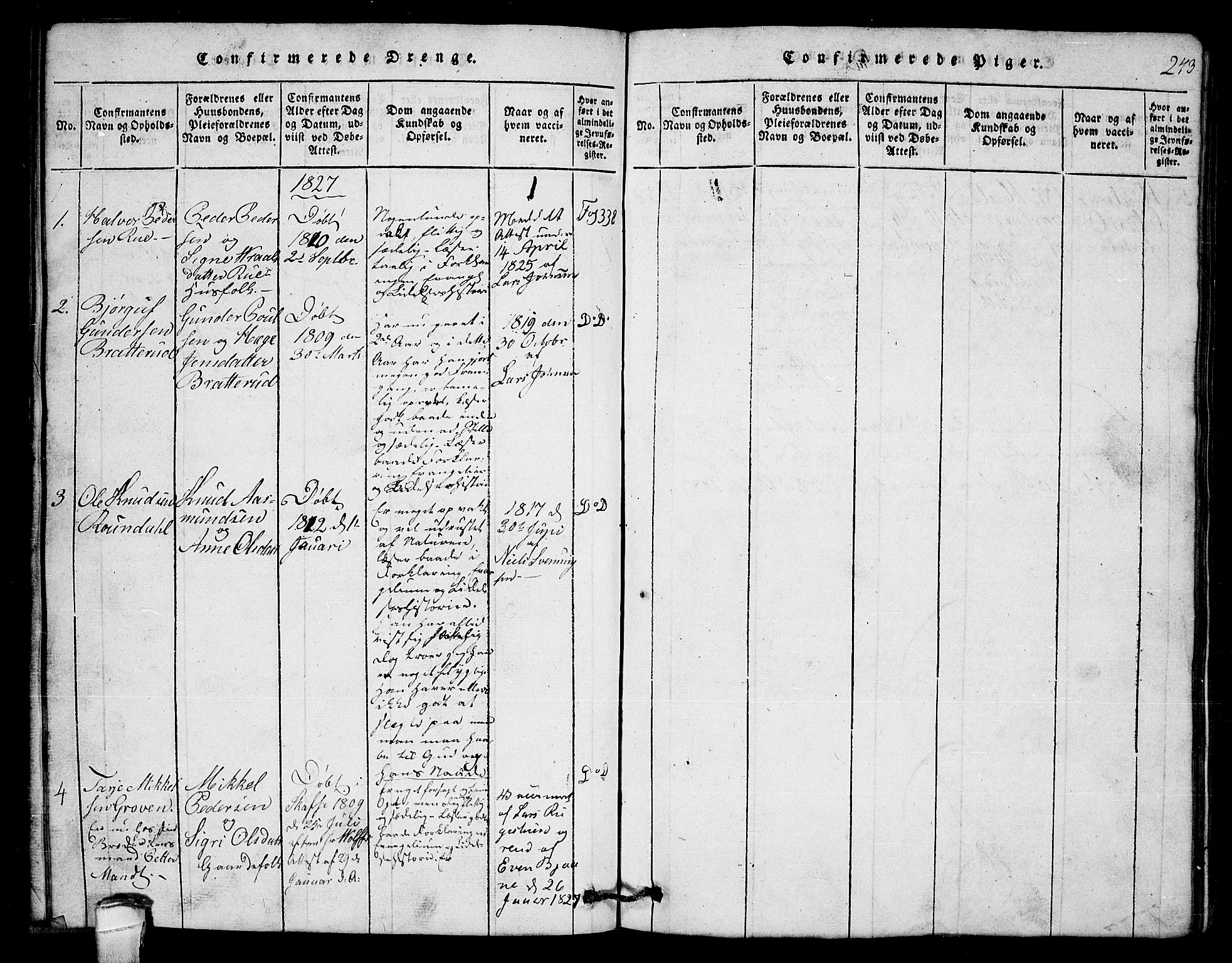 SAKO, Lårdal kirkebøker, G/Gb/L0001: Klokkerbok nr. II 1, 1815-1865, s. 243