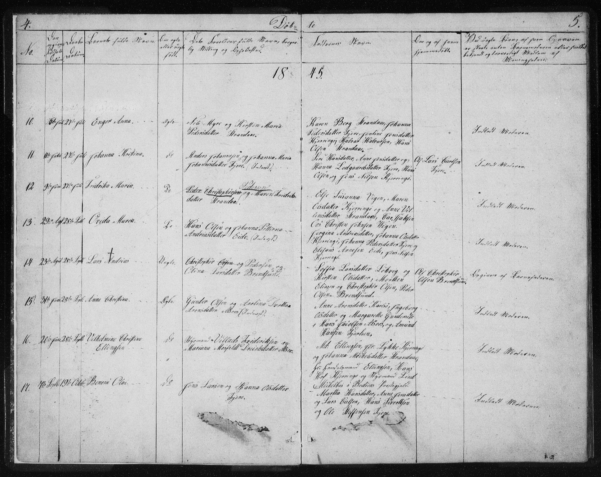 SAT, Ministerialprotokoller, klokkerbøker og fødselsregistre - Nordland, 803/L0074: Klokkerbok nr. 803C01, 1845-1866, s. 4-5