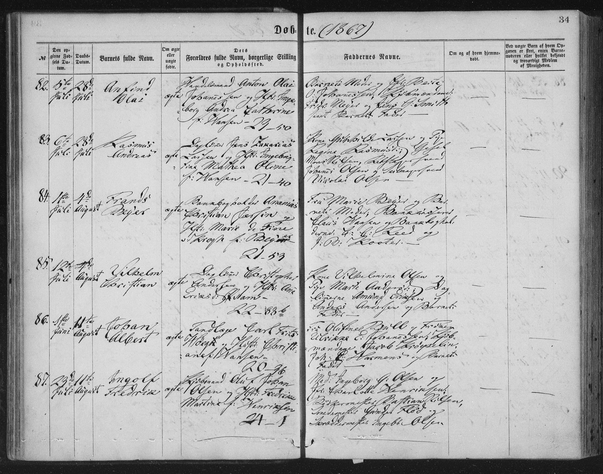 SAB, Korskirken Sokneprestembete, H/Haa/L0019: Ministerialbok nr. B 5, 1866-1871, s. 34