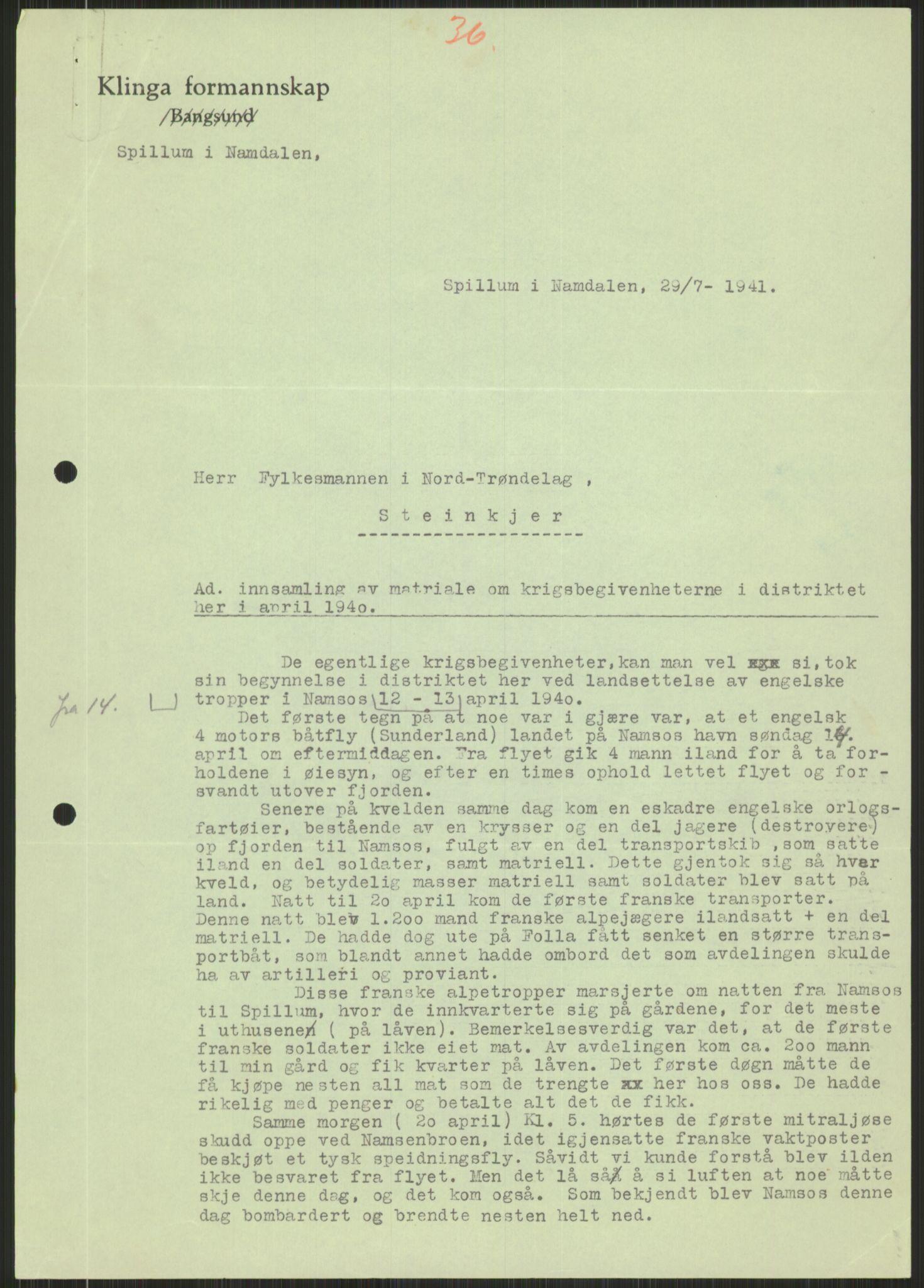 RA, Forsvaret, Forsvarets krigshistoriske avdeling, Y/Ya/L0016: II-C-11-31 - Fylkesmenn.  Rapporter om krigsbegivenhetene 1940., 1940, s. 482