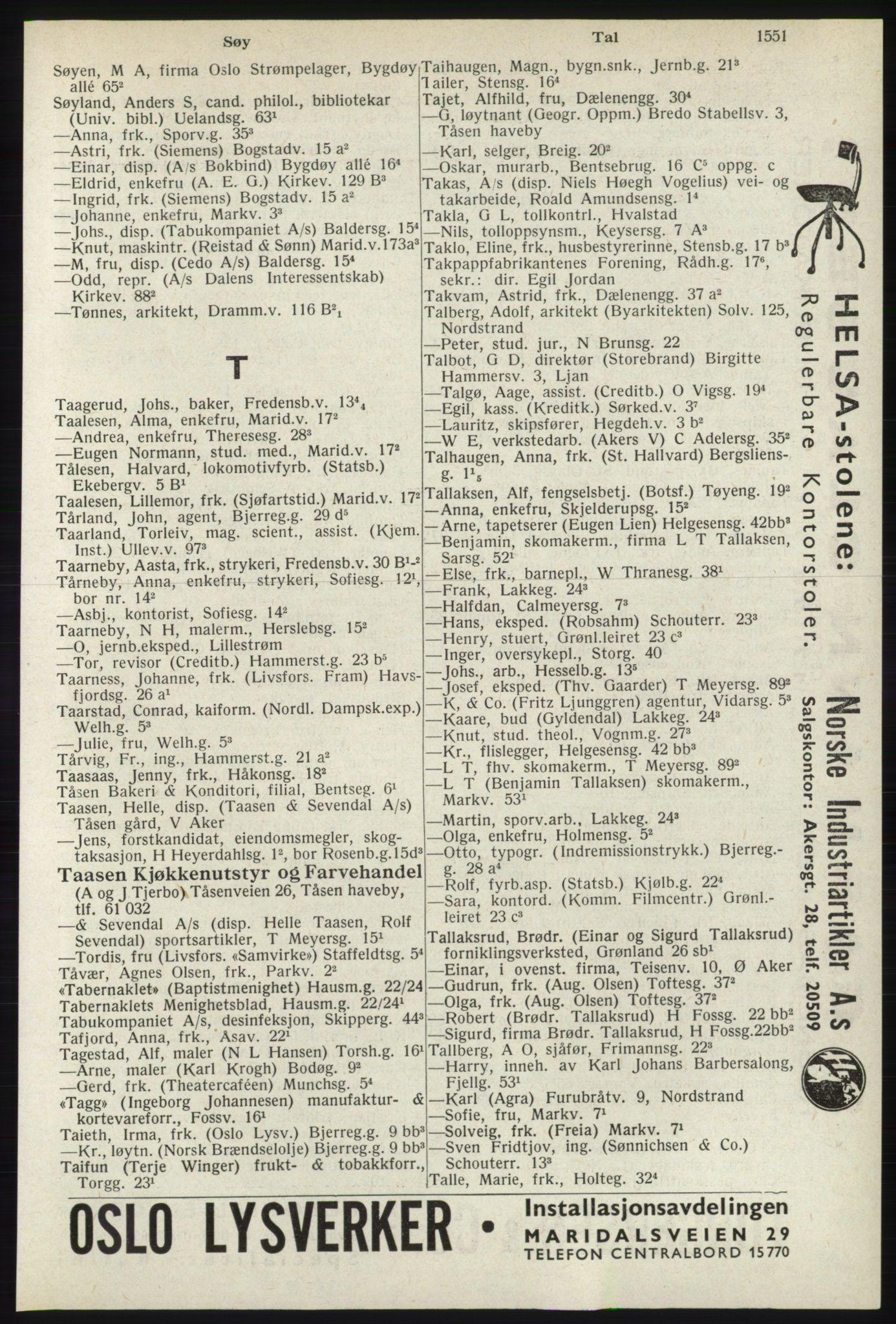 RA, Oslo adressebok (publikasjon)*, 1940, s. 1551