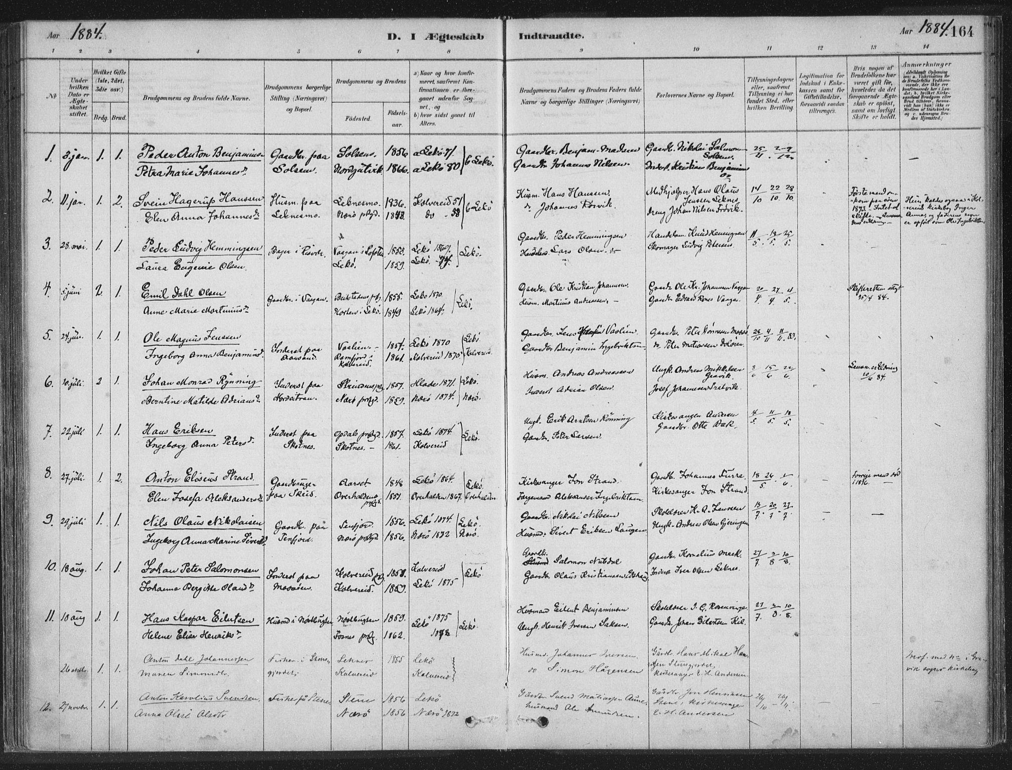 SAT, Ministerialprotokoller, klokkerbøker og fødselsregistre - Nord-Trøndelag, 788/L0697: Ministerialbok nr. 788A04, 1878-1902, s. 164