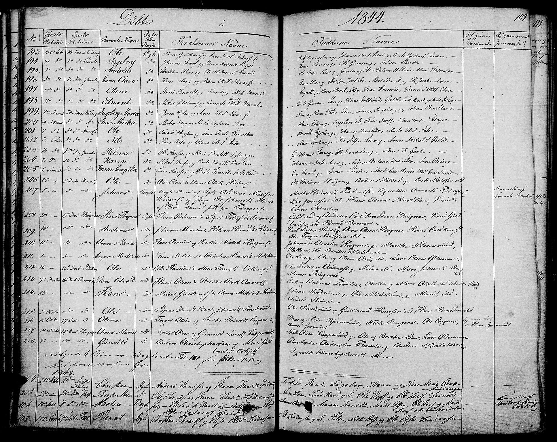 SAH, Land prestekontor, Ministerialbok nr. 8, 1830-1846, s. 109