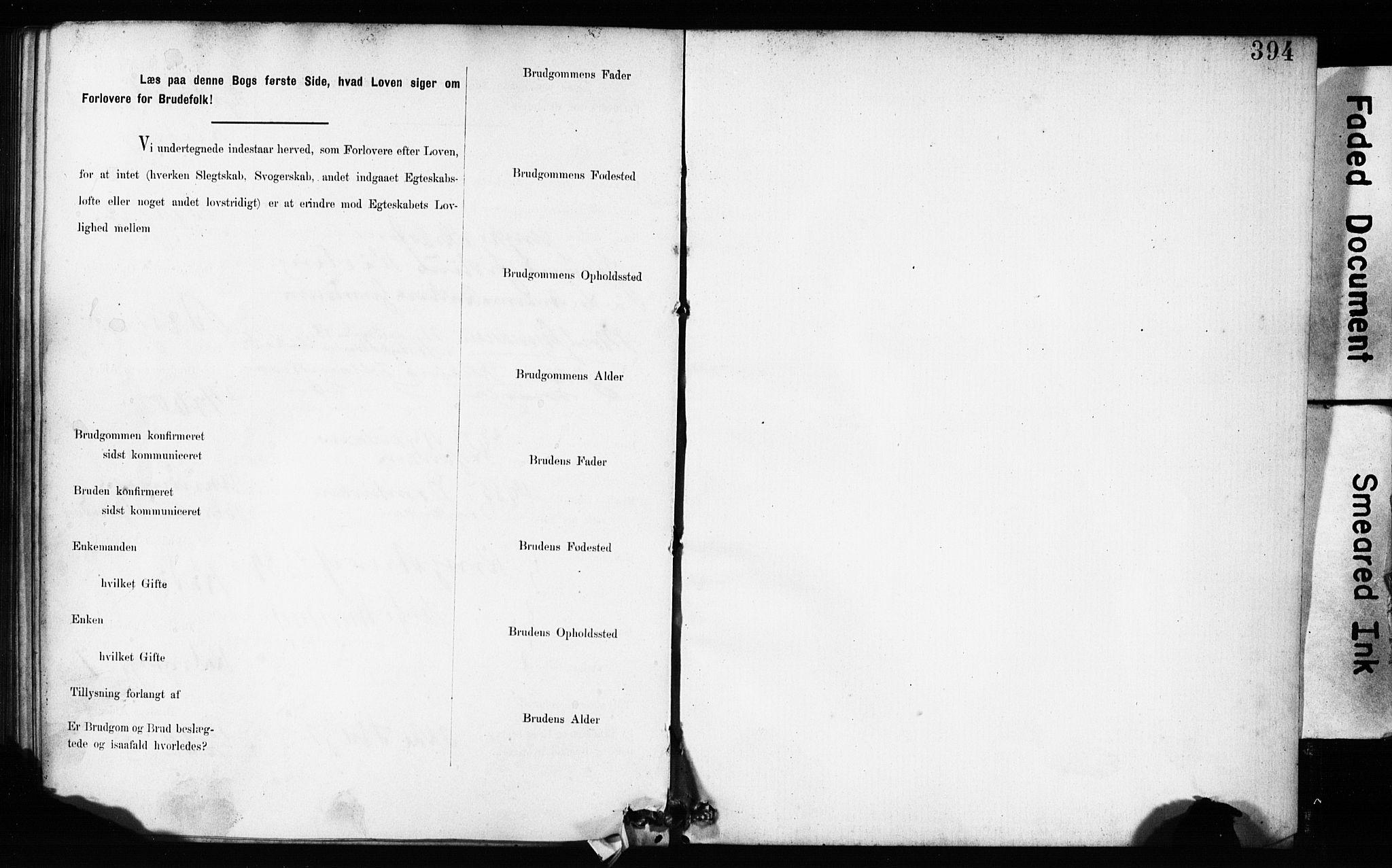 SAB, Domkirken Sokneprestembete, Forlovererklæringer nr. II.5.9, 1882-1889, s. 394
