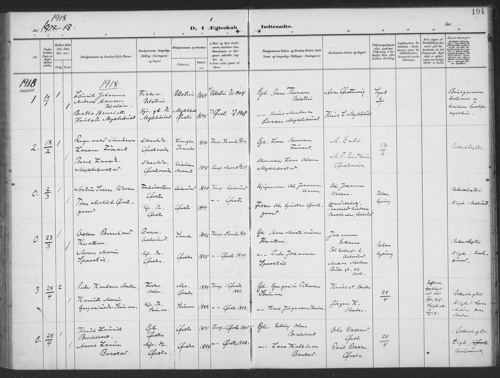 SAT, Ministerialprotokoller, klokkerbøker og fødselsregistre - Møre og Romsdal, 513/L0178: Ministerialbok nr. 513A05, 1906-1919, s. 194