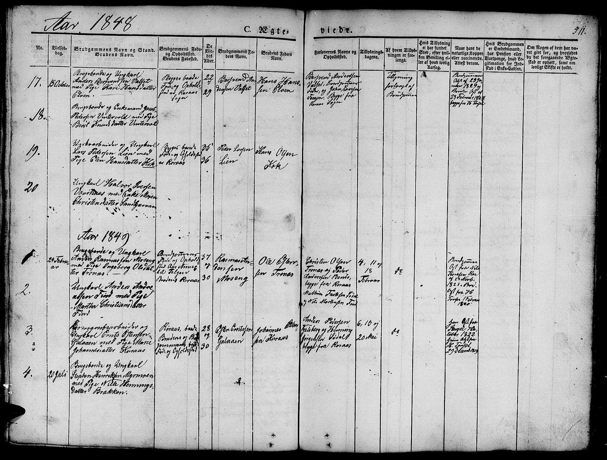 SAT, Ministerialprotokoller, klokkerbøker og fødselsregistre - Sør-Trøndelag, 681/L0939: Klokkerbok nr. 681C03, 1829-1855, s. 511