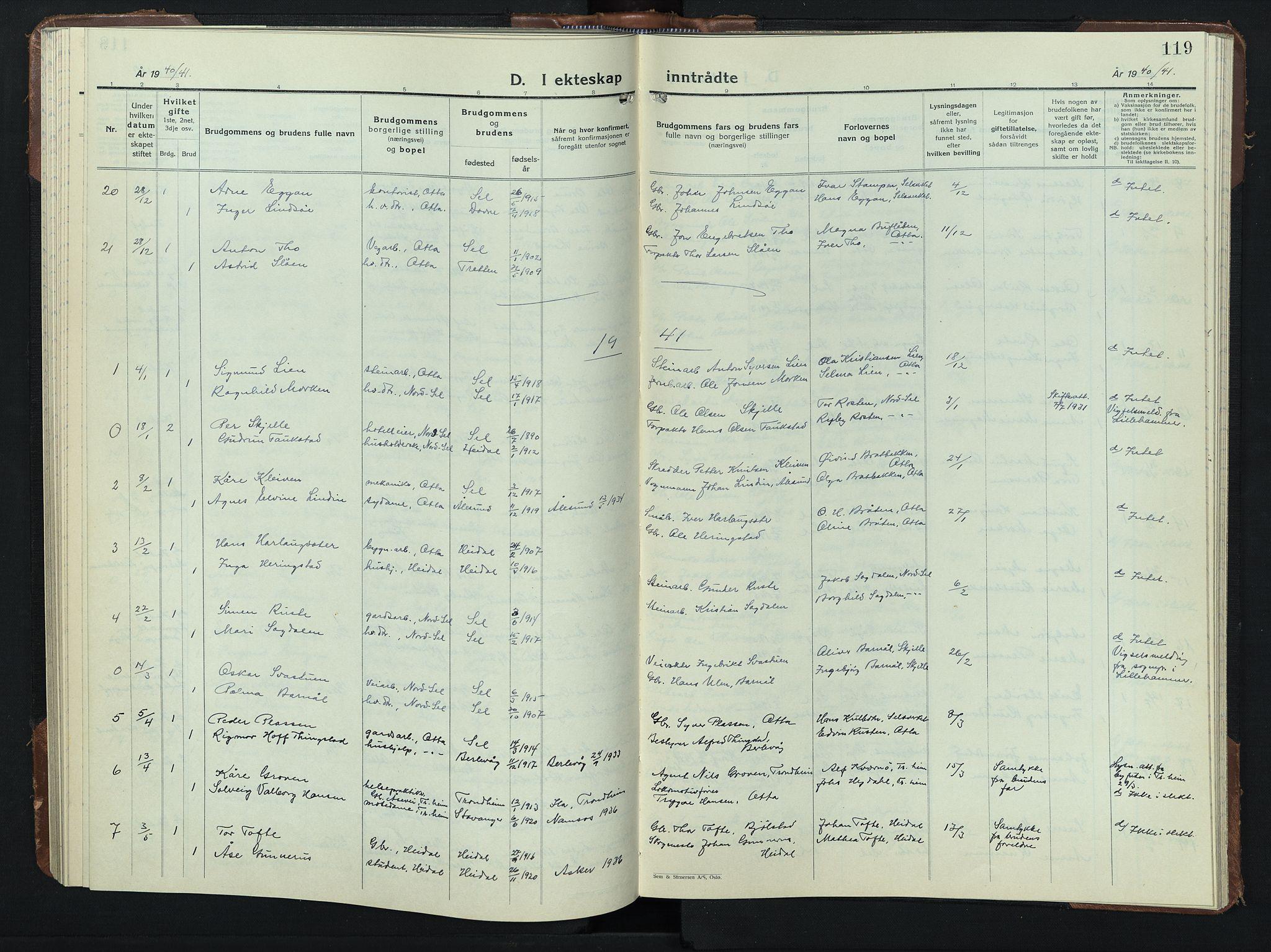 SAH, Sel prestekontor, Klokkerbok nr. 3, 1940-1951, s. 119