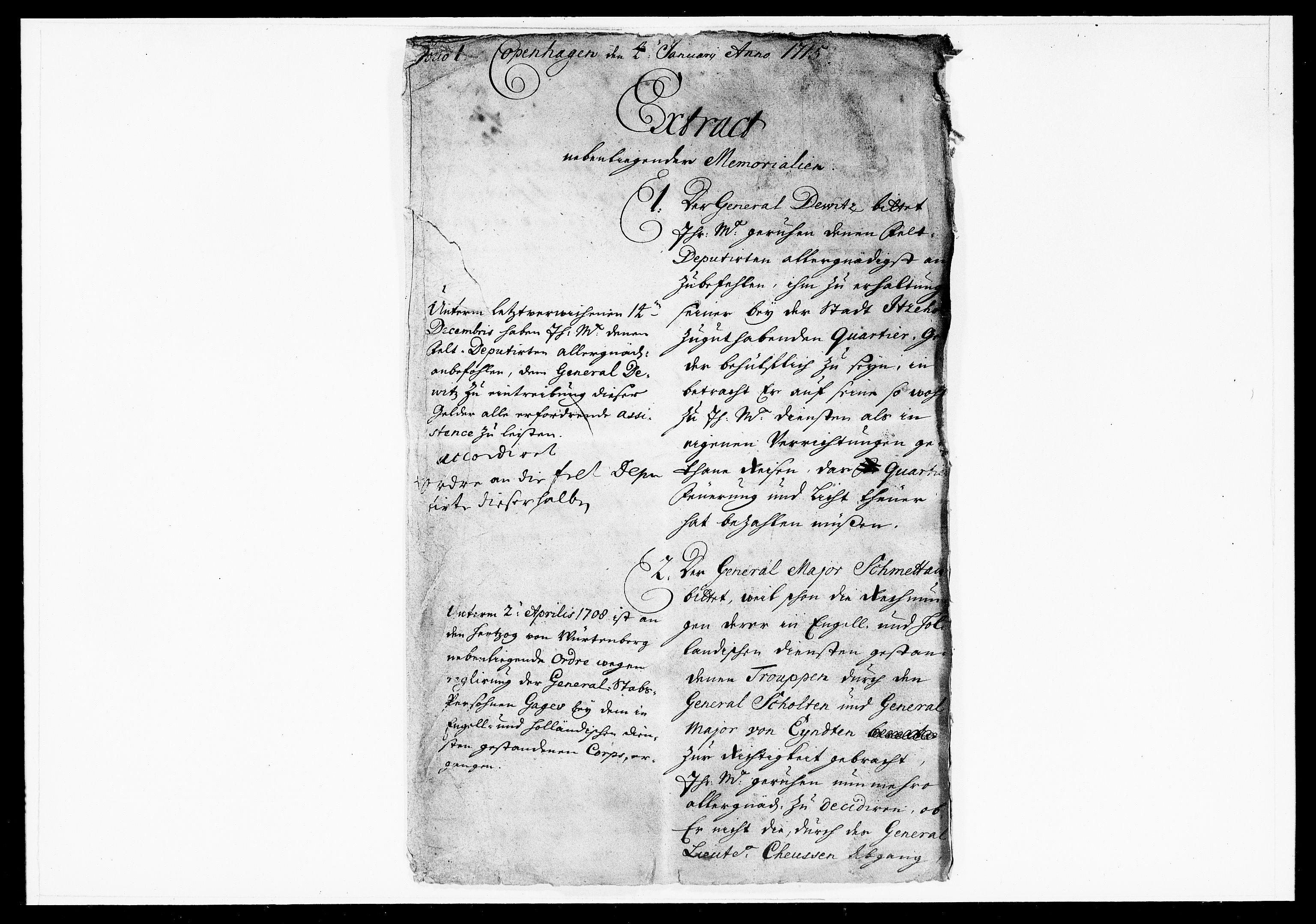 DRA, Krigskollegiet, Krigskancelliet, -/1014-1024: Refererede sager, 1715, s. 2