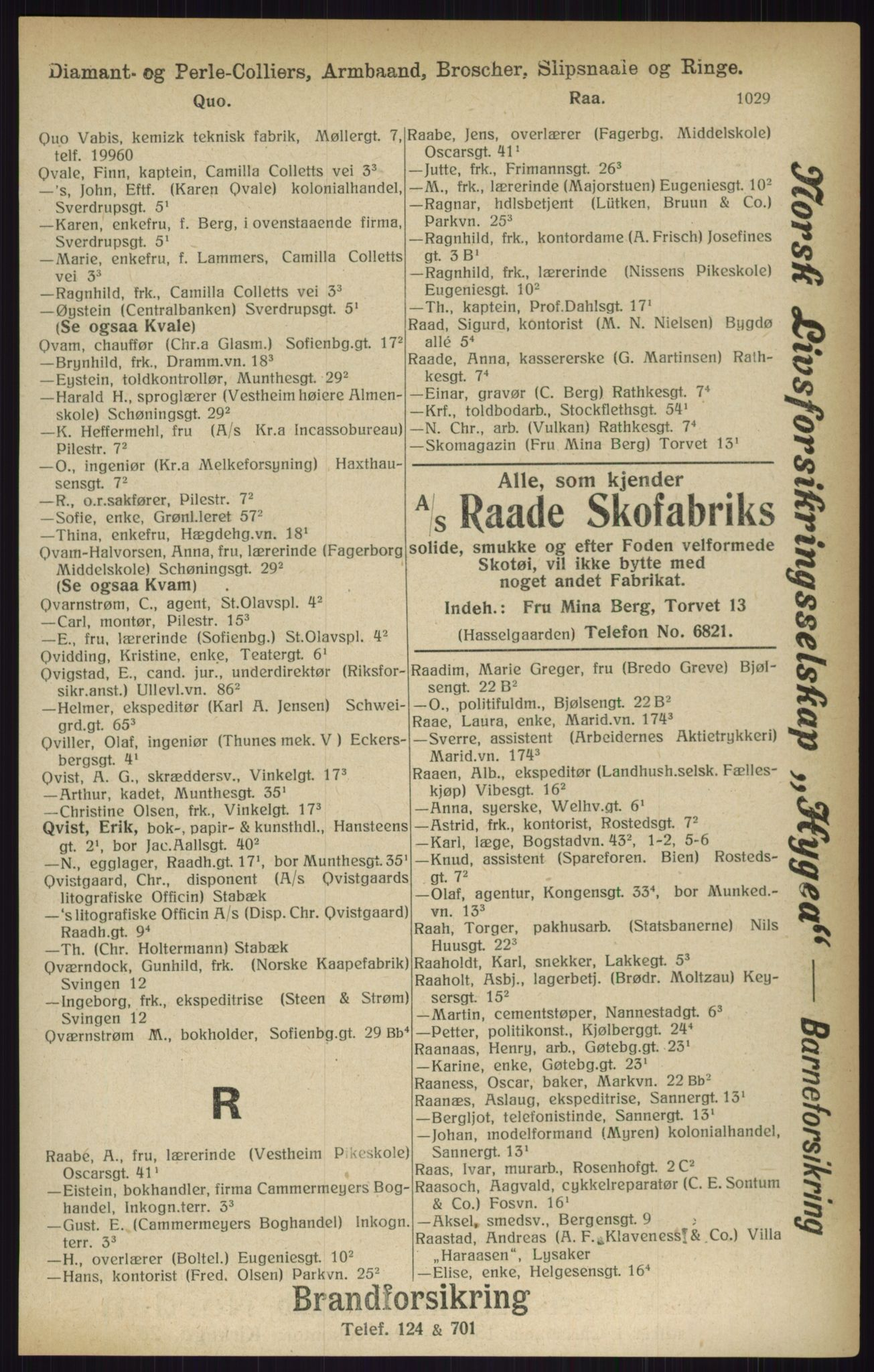 RA, Kristiania adressebok (publikasjon)*, 1916, s. 1029
