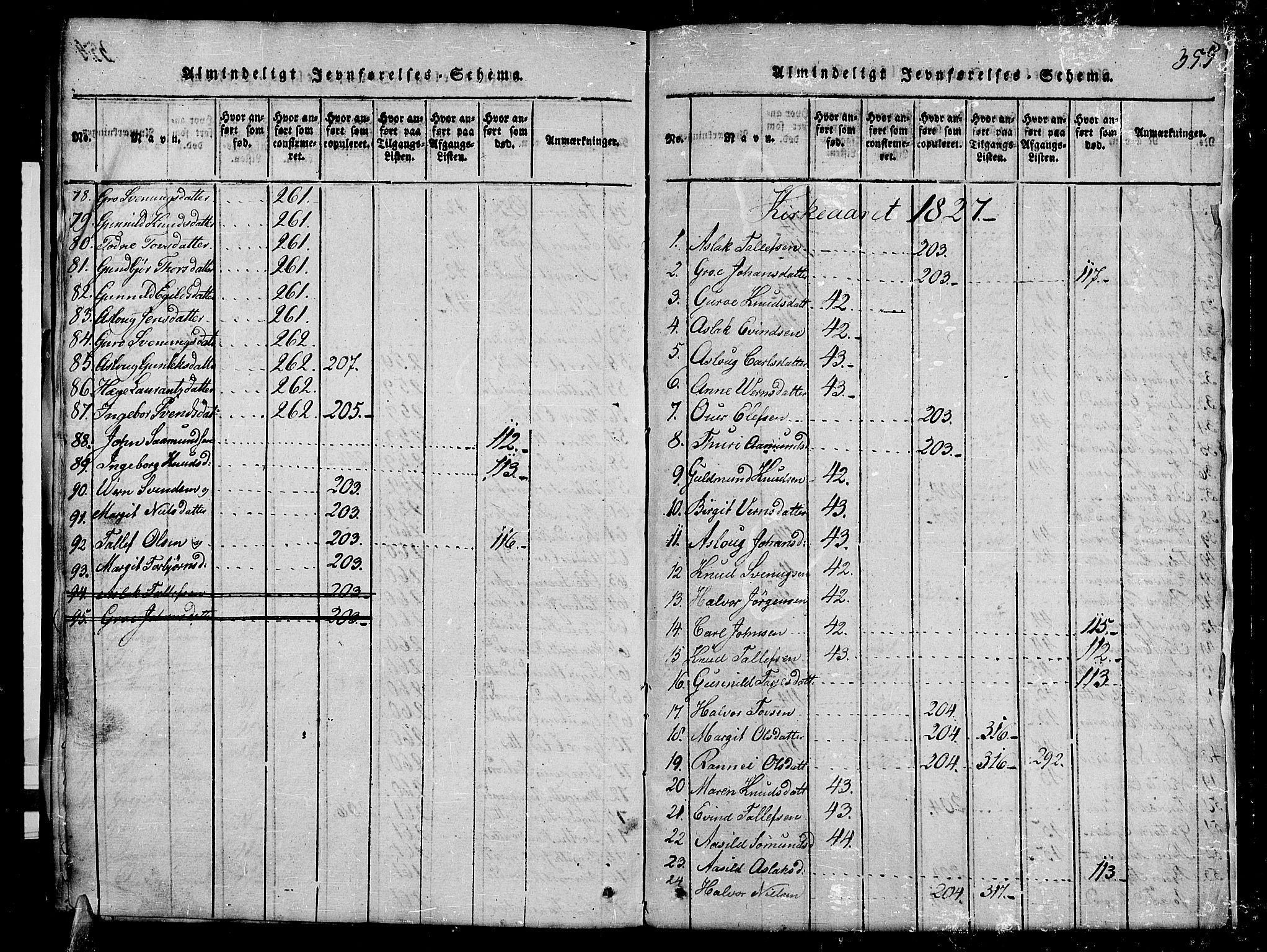 SAKO, Kviteseid kirkebøker, G/Gb/L0001: Klokkerbok nr. II 1, 1815-1842, s. 355
