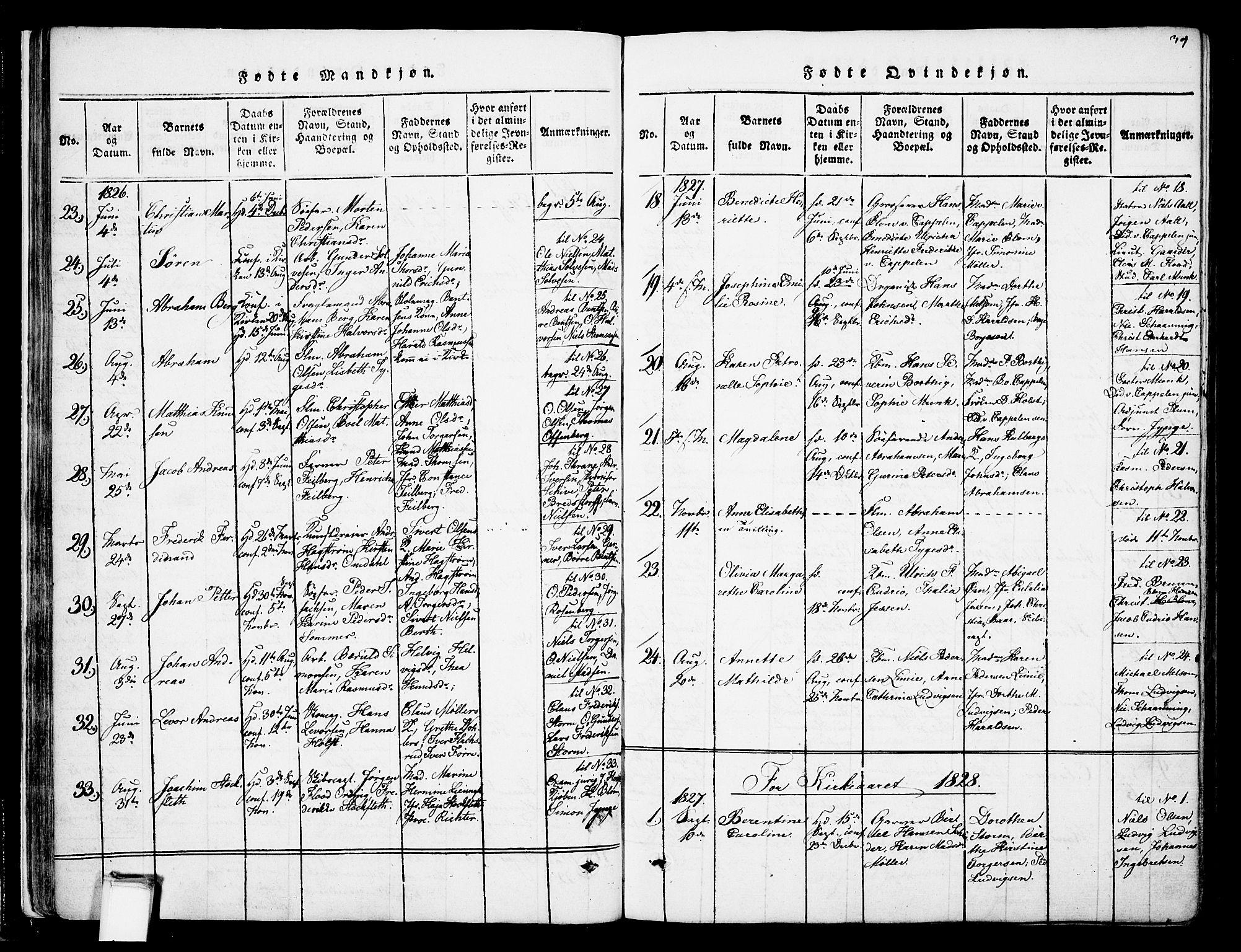 SAKO, Skien kirkebøker, F/Fa/L0005: Ministerialbok nr. 5, 1814-1843, s. 39