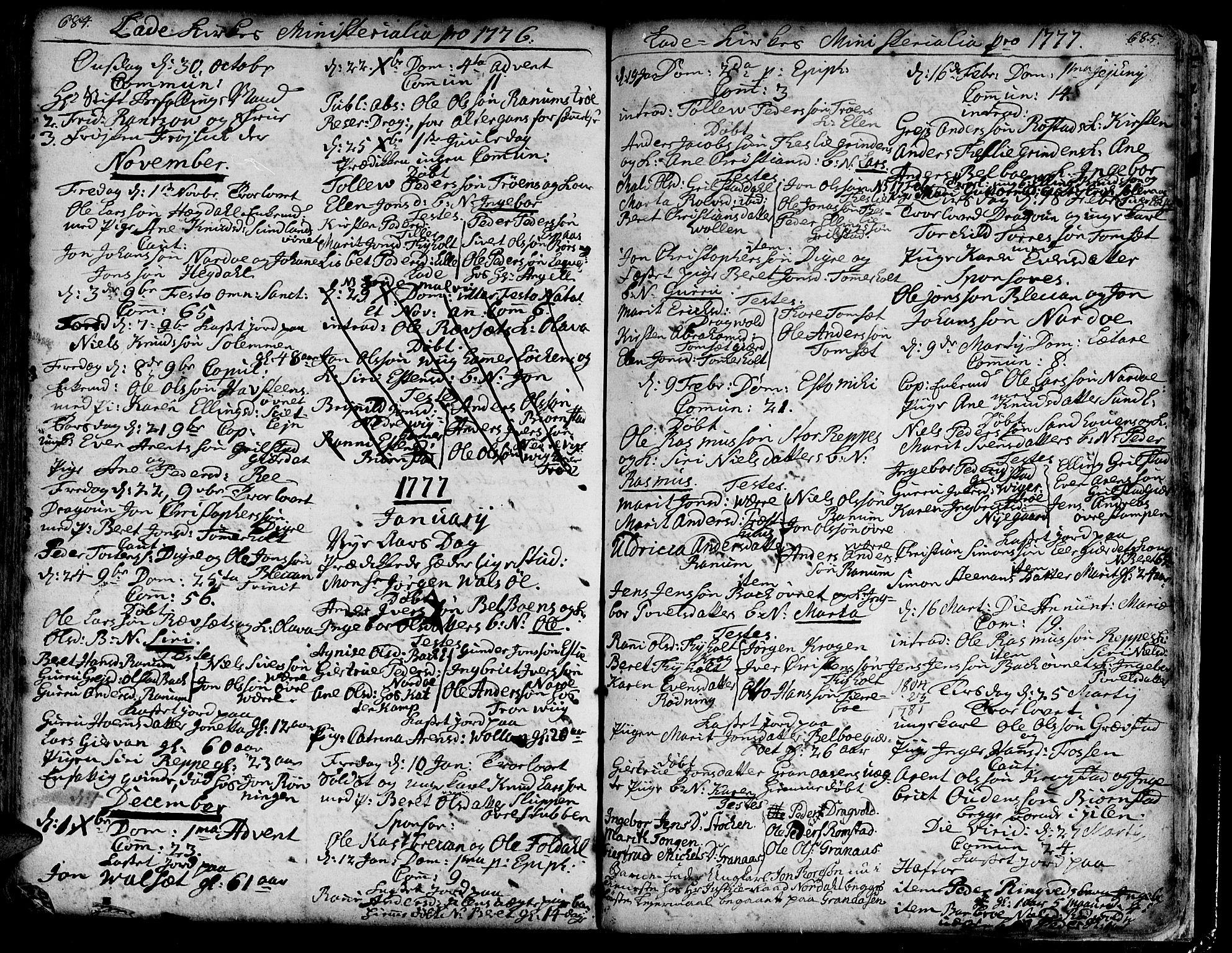 SAT, Ministerialprotokoller, klokkerbøker og fødselsregistre - Sør-Trøndelag, 606/L0275: Ministerialbok nr. 606A01 /1, 1727-1780, s. 684-685