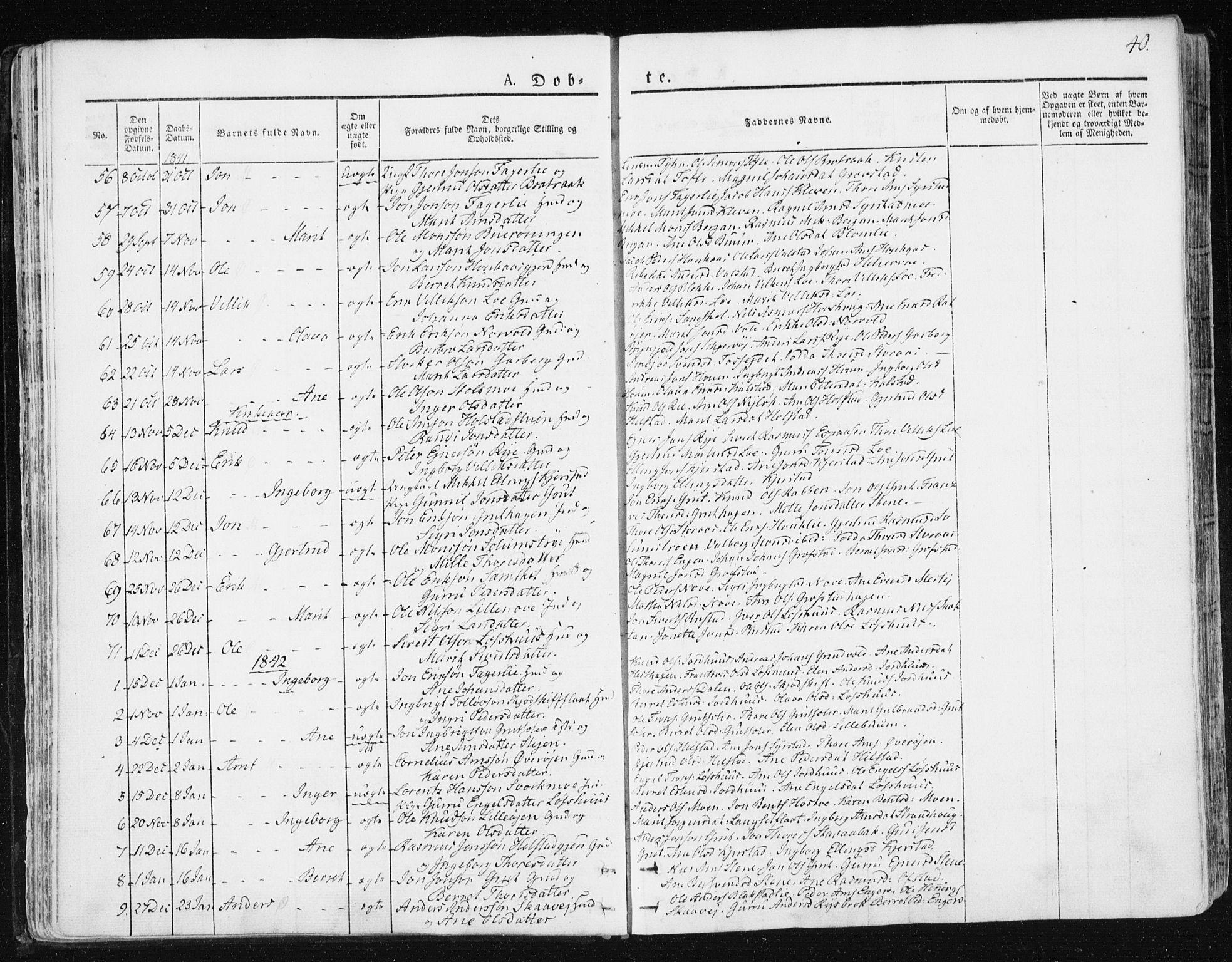 SAT, Ministerialprotokoller, klokkerbøker og fødselsregistre - Sør-Trøndelag, 672/L0855: Ministerialbok nr. 672A07, 1829-1860, s. 40