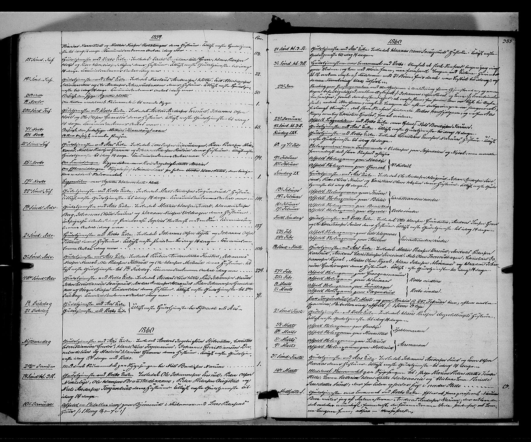 SAH, Vestre Toten prestekontor, Ministerialbok nr. 6, 1856-1861, s. 385