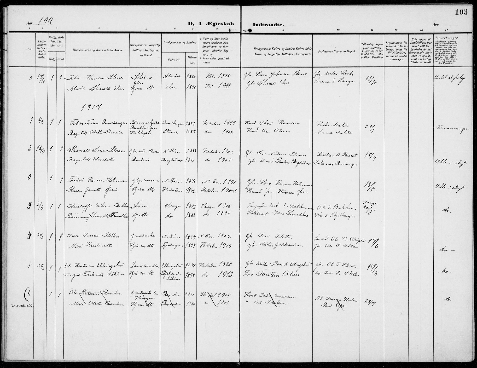 SAH, Sel prestekontor, Ministerialbok nr. 1, 1905-1922, s. 103