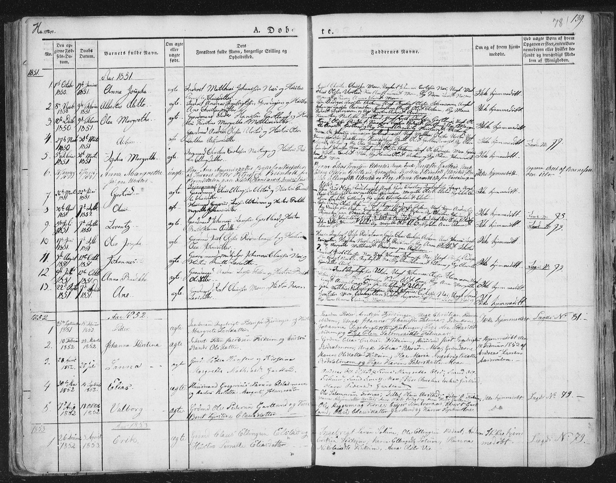 SAT, Ministerialprotokoller, klokkerbøker og fødselsregistre - Nord-Trøndelag, 758/L0513: Ministerialbok nr. 758A02 /3, 1839-1868, s. 78