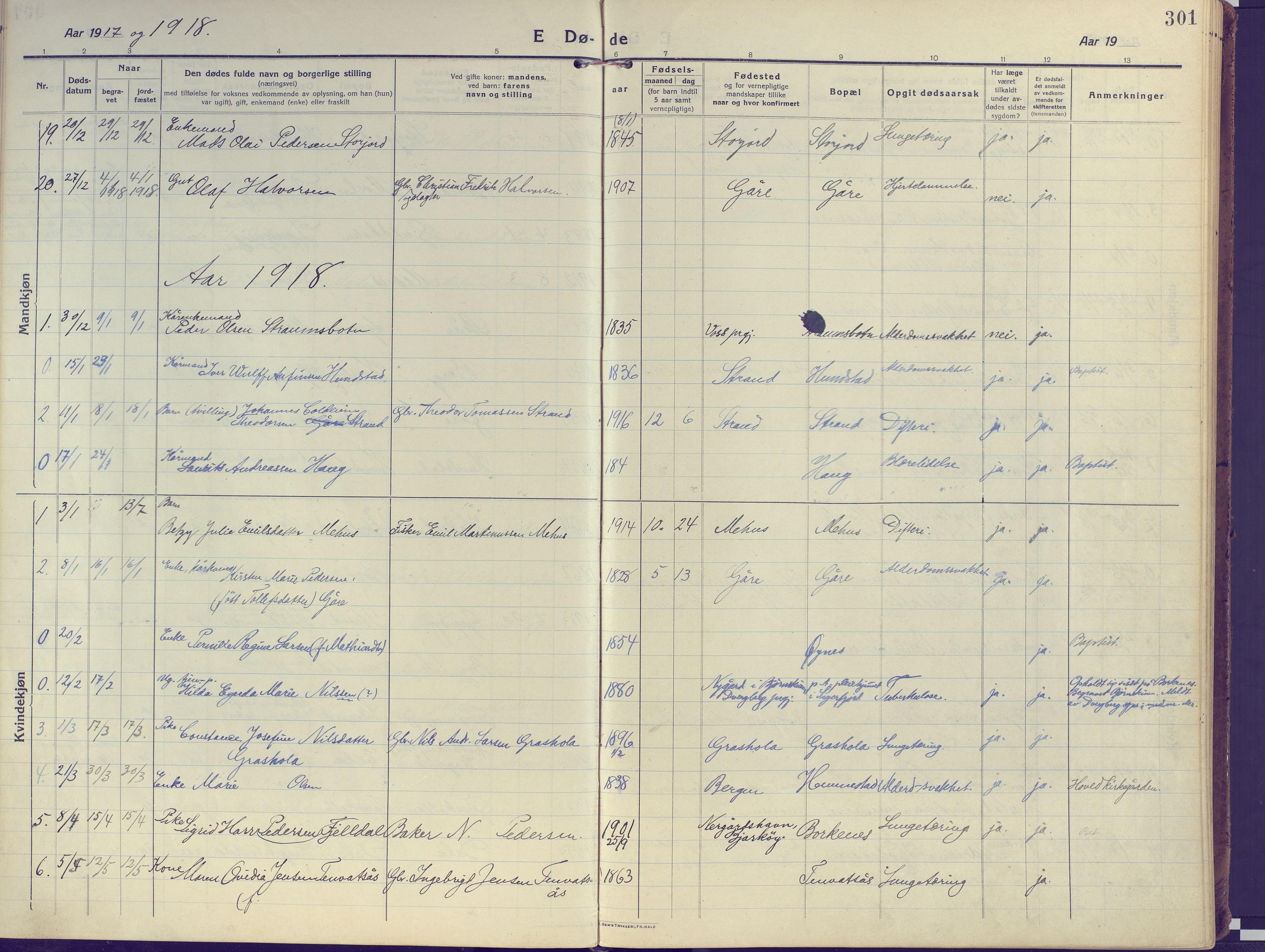 SATØ, Kvæfjord sokneprestkontor, G/Ga/Gaa/L0007kirke: Ministerialbok nr. 7, 1915-1931, s. 301
