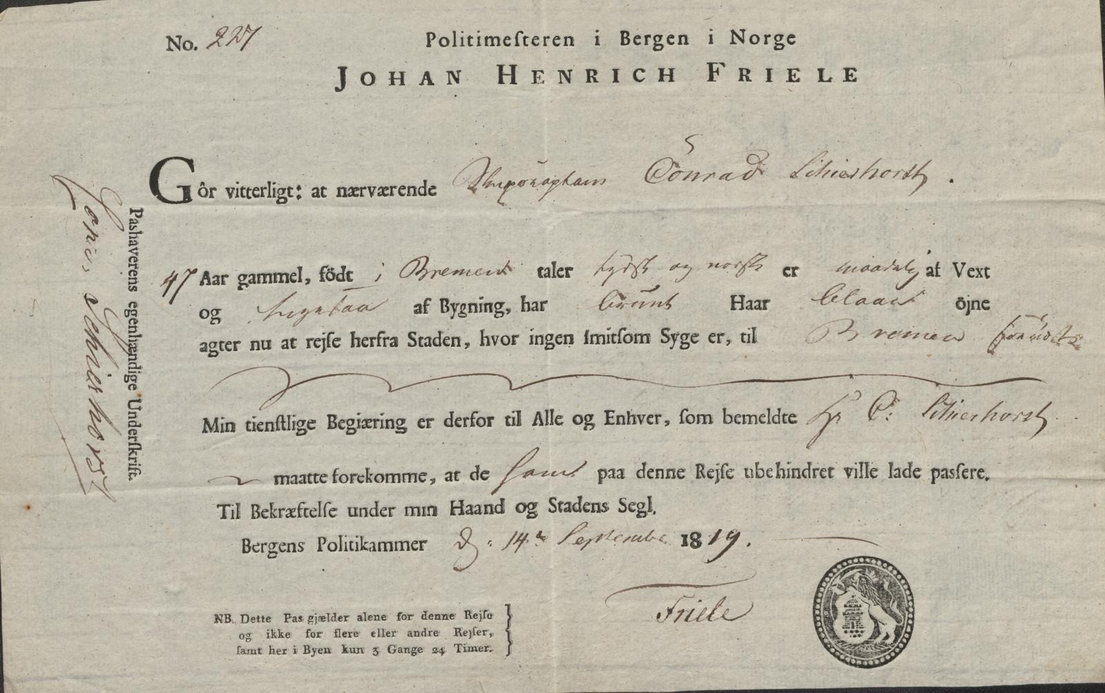 SAB, Bergen politikammer / politidistrikt, L.b, 1816-1822, s. 18