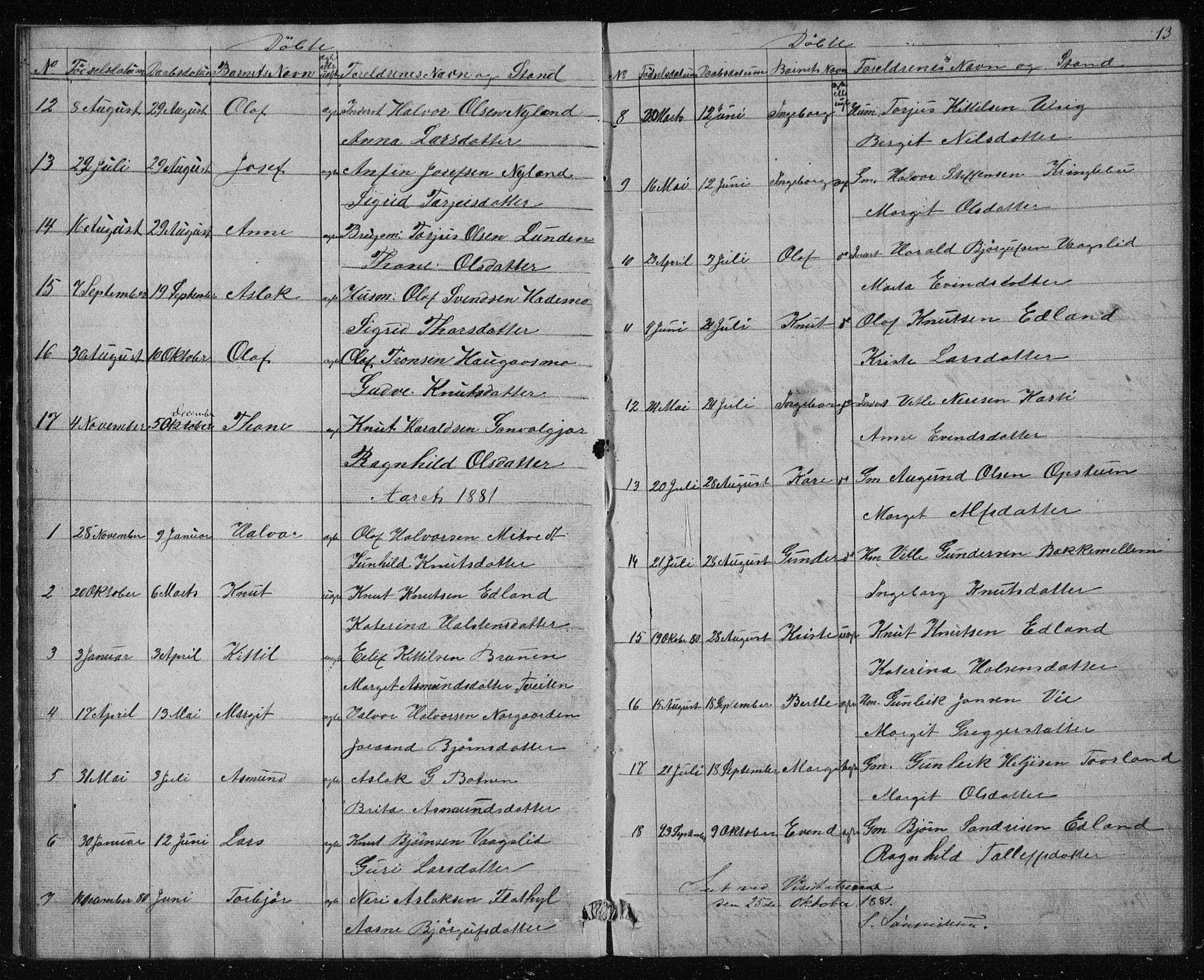 SAKO, Vinje kirkebøker, G/Gc/L0001: Klokkerbok nr. III 1, 1850-1893, s. 13