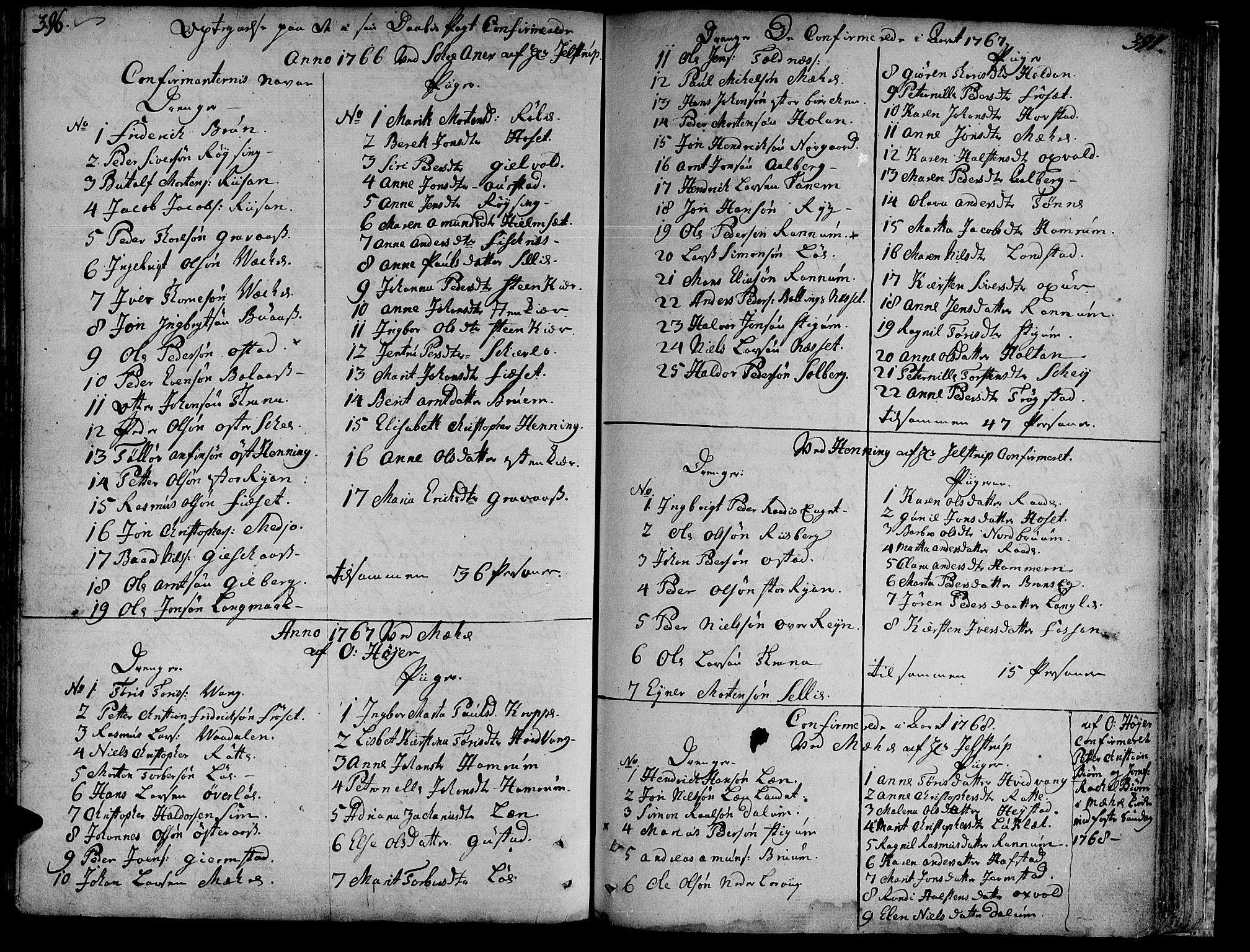SAT, Ministerialprotokoller, klokkerbøker og fødselsregistre - Nord-Trøndelag, 735/L0331: Ministerialbok nr. 735A02, 1762-1794, s. 396-397