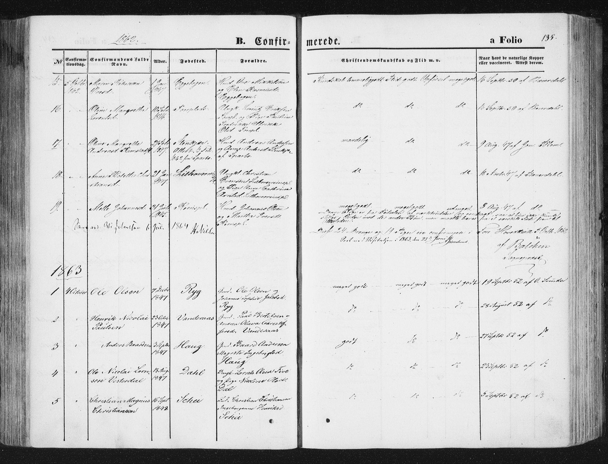 SAT, Ministerialprotokoller, klokkerbøker og fødselsregistre - Nord-Trøndelag, 746/L0447: Ministerialbok nr. 746A06, 1860-1877, s. 135