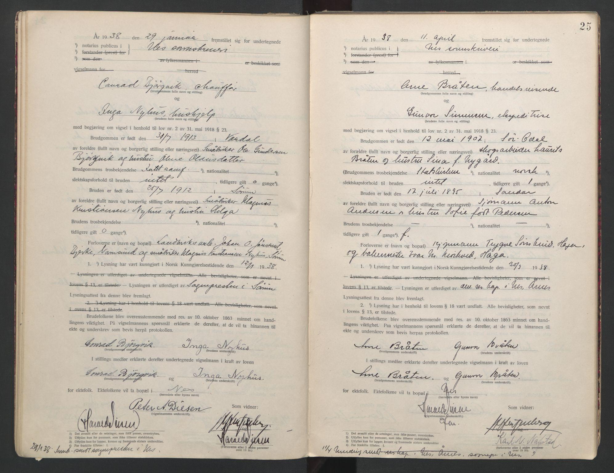 SAO, Nes tingrett, L/Lc/Lca/L0001: Vigselbok, 1920-1943, s. 25