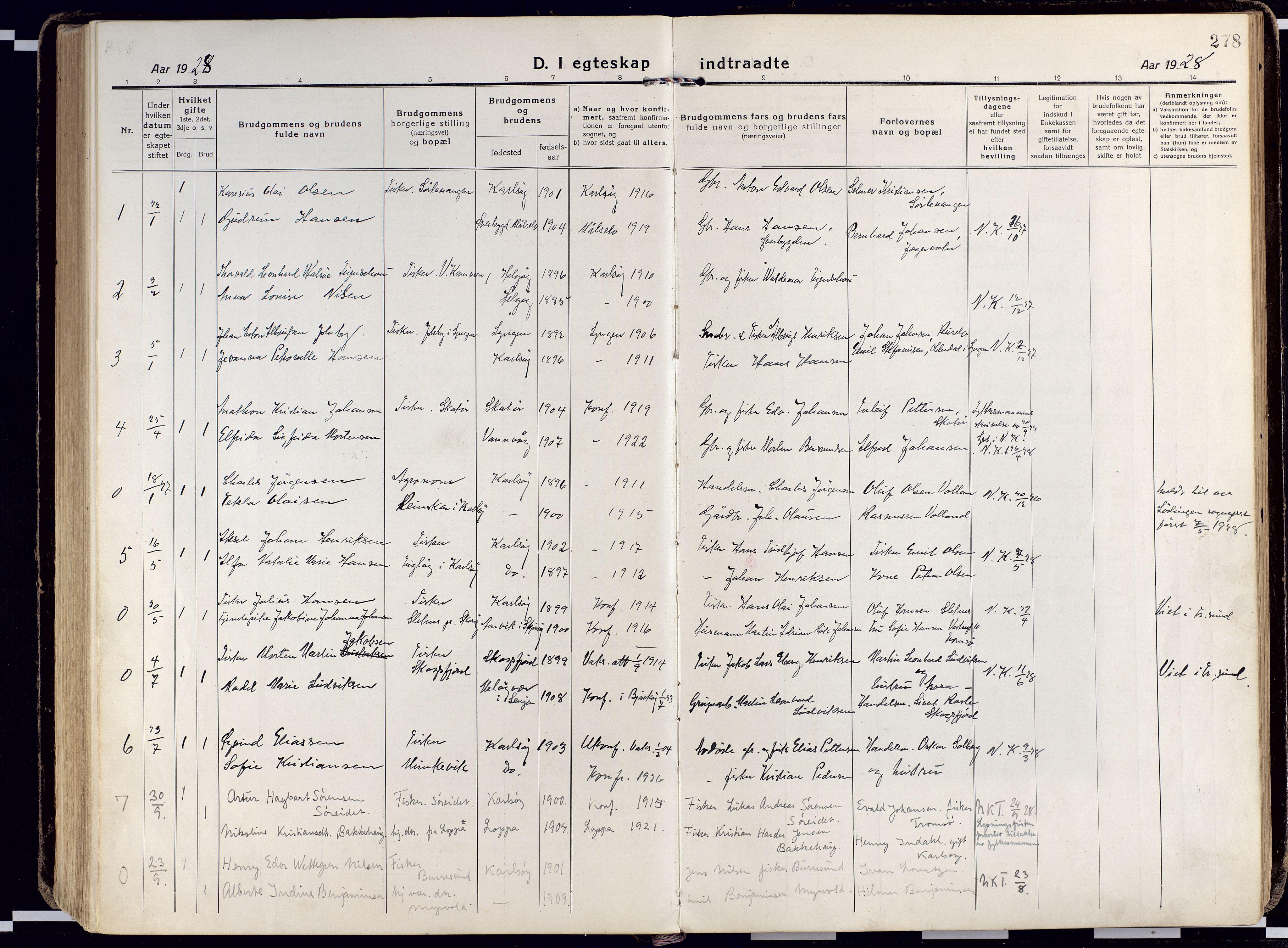 SATØ, Karlsøy sokneprestembete, Ministerialbok nr. 15, 1918-1929, s. 278