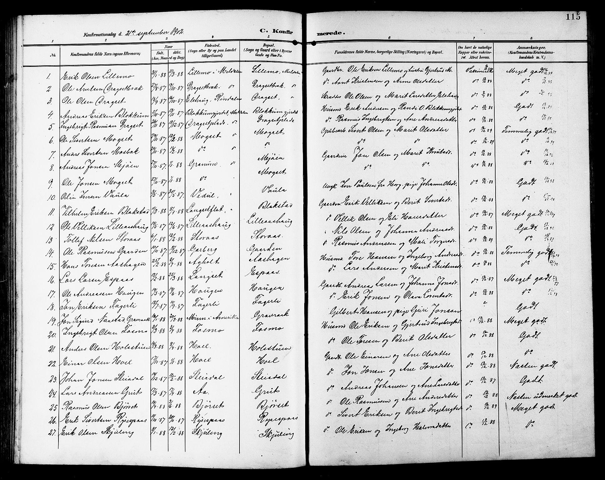 SAT, Ministerialprotokoller, klokkerbøker og fødselsregistre - Sør-Trøndelag, 672/L0864: Klokkerbok nr. 672C03, 1902-1914, s. 115