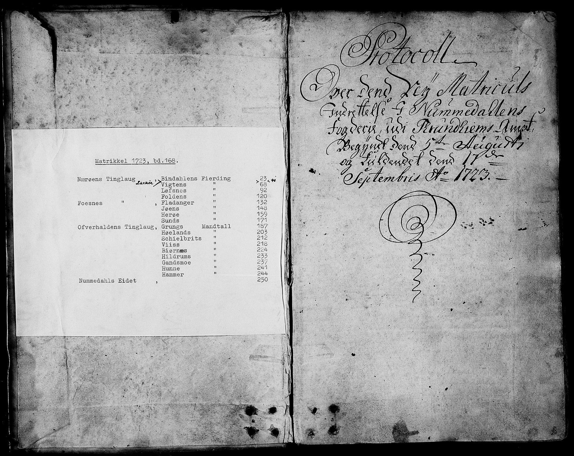 RA, Rentekammeret inntil 1814, Realistisk ordnet avdeling, N/Nb/Nbf/L0168: Namdalen eksaminasjonsprotokoll, 1723, s. upaginert