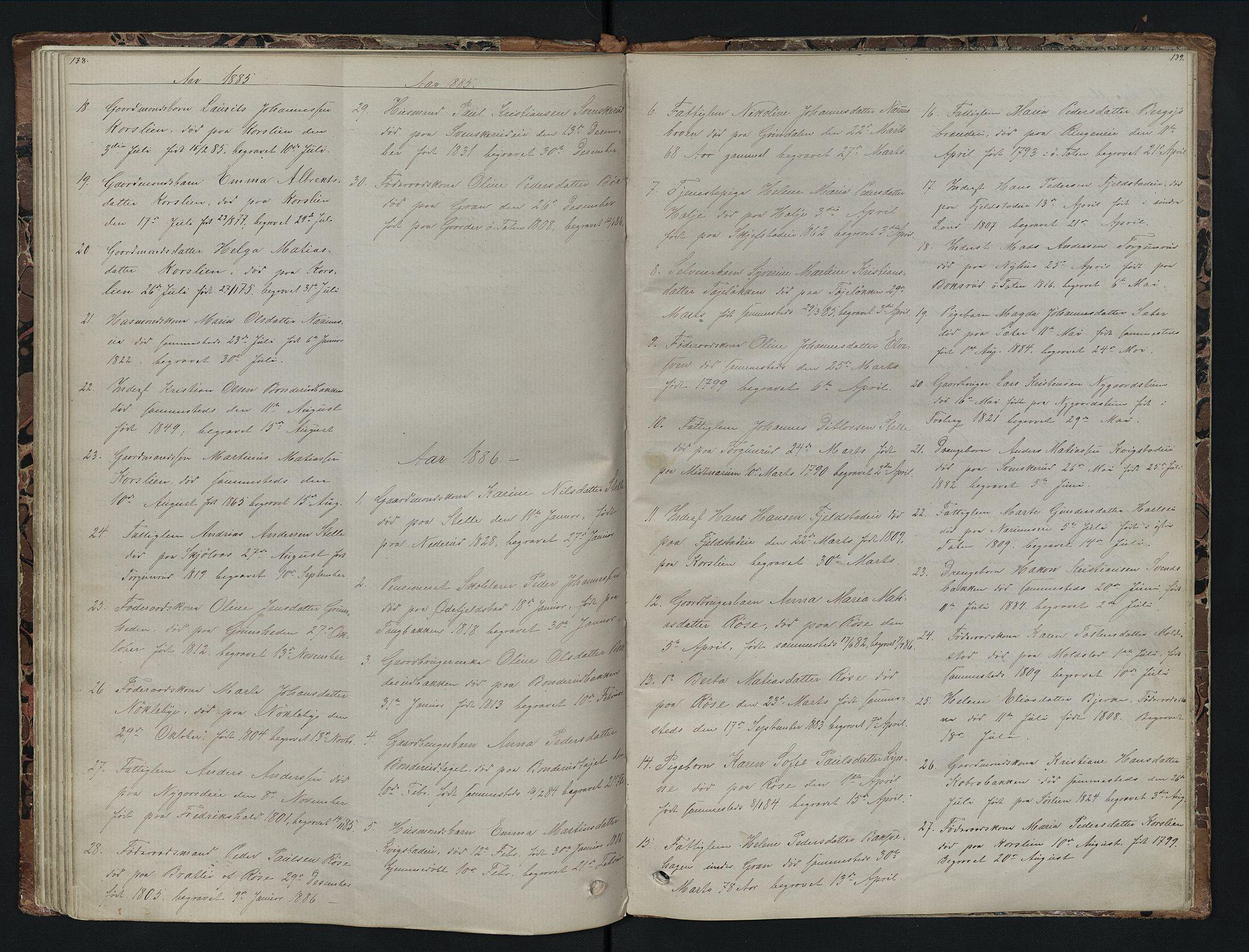 SAH, Vestre Toten prestekontor, Klokkerbok nr. 7, 1872-1900, s. 138-139