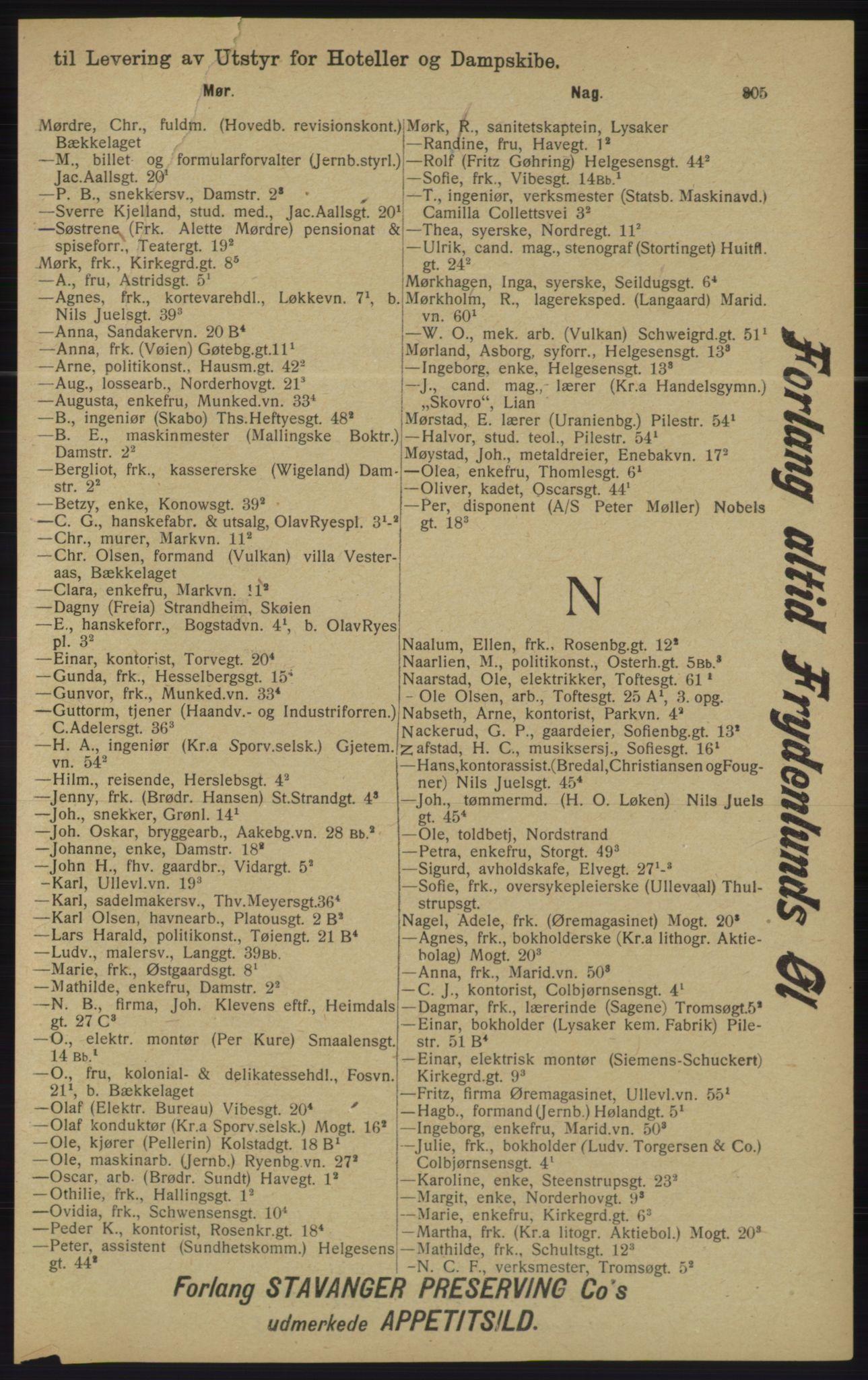 RA, Kristiania adressebok (publikasjon)*, 1913, s. 805
