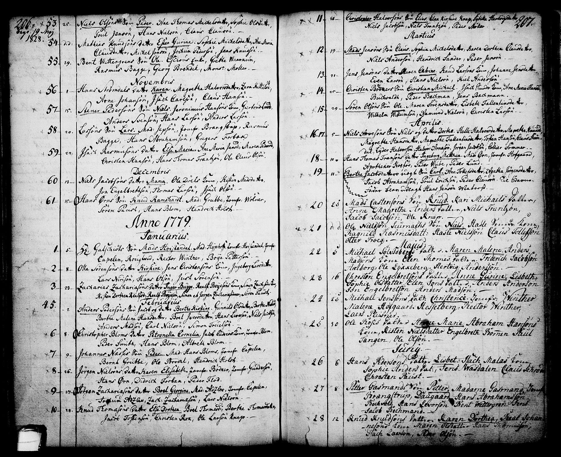 SAKO, Skien kirkebøker, F/Fa/L0003: Ministerialbok nr. 3, 1755-1791, s. 206-207