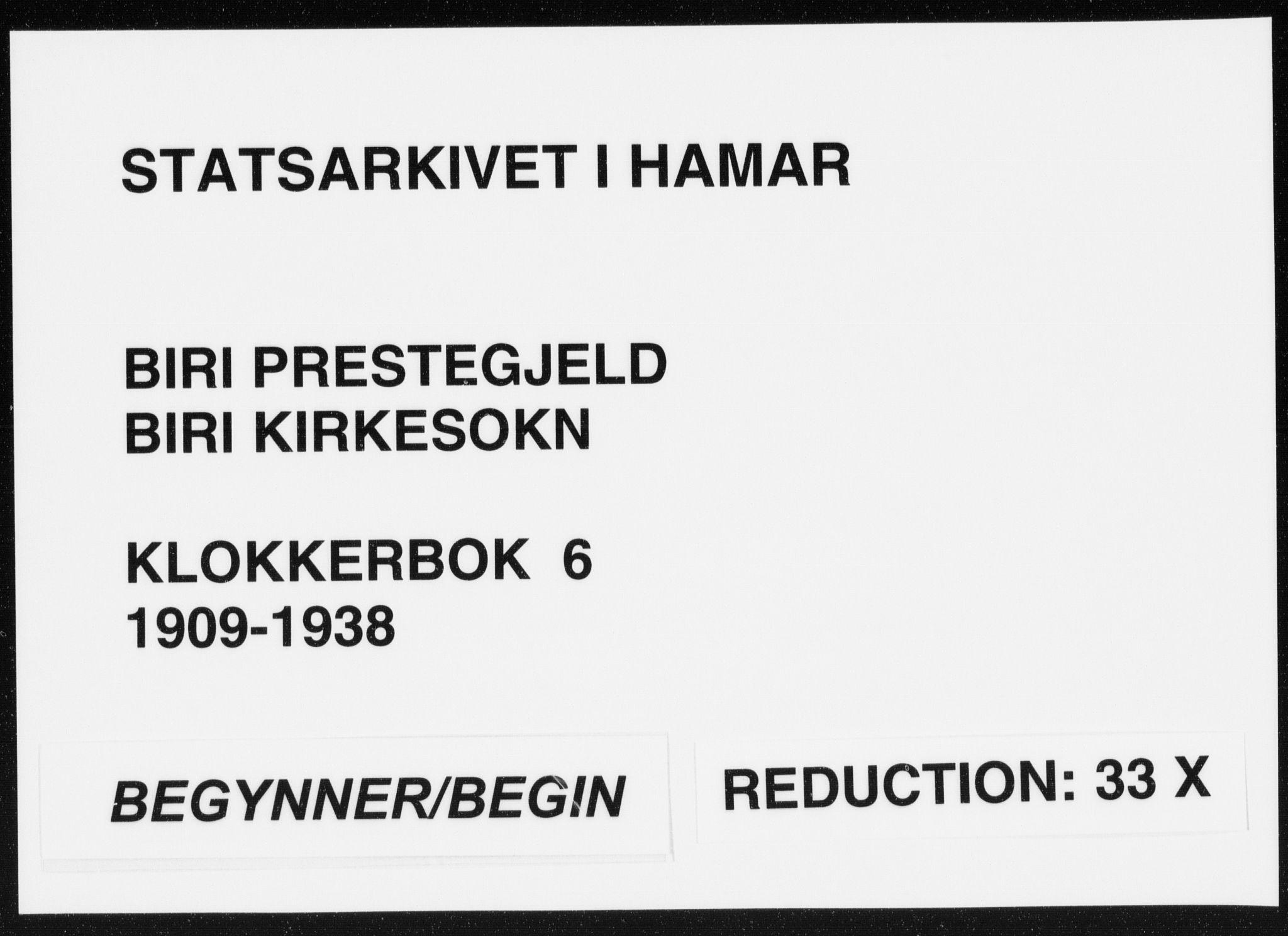 SAH, Biri prestekontor, Klokkerbok nr. 6, 1909-1938