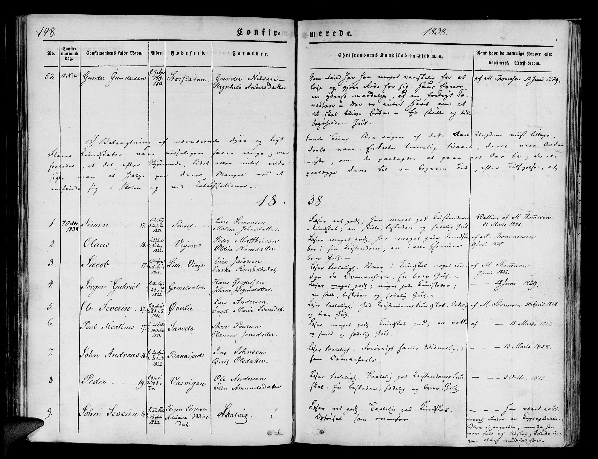 SATØ, Tranøy sokneprestkontor, I/Ia/Iaa/L0005kirke: Ministerialbok nr. 5, 1829-1844, s. 148