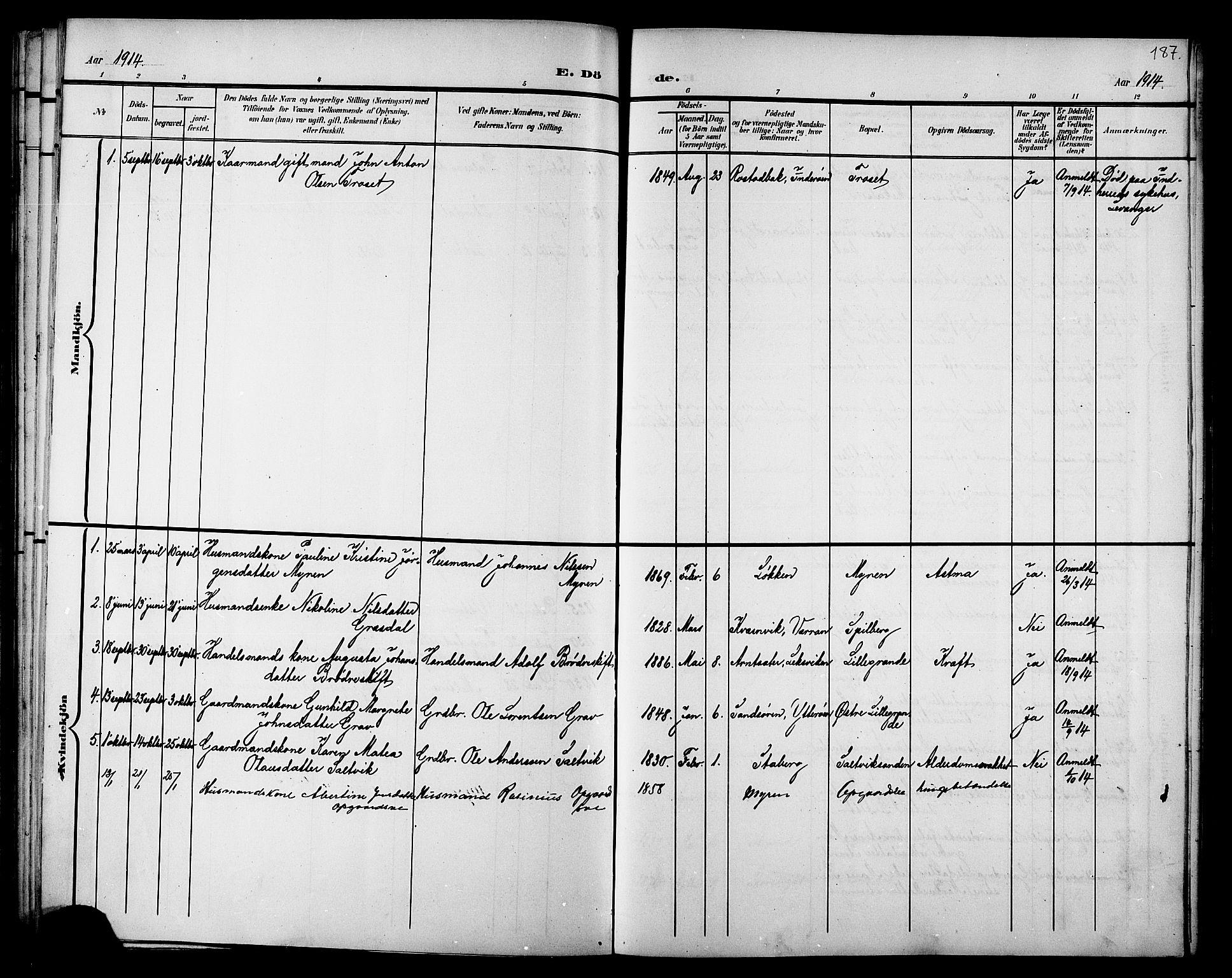 SAT, Ministerialprotokoller, klokkerbøker og fødselsregistre - Nord-Trøndelag, 733/L0327: Klokkerbok nr. 733C02, 1888-1918, s. 187