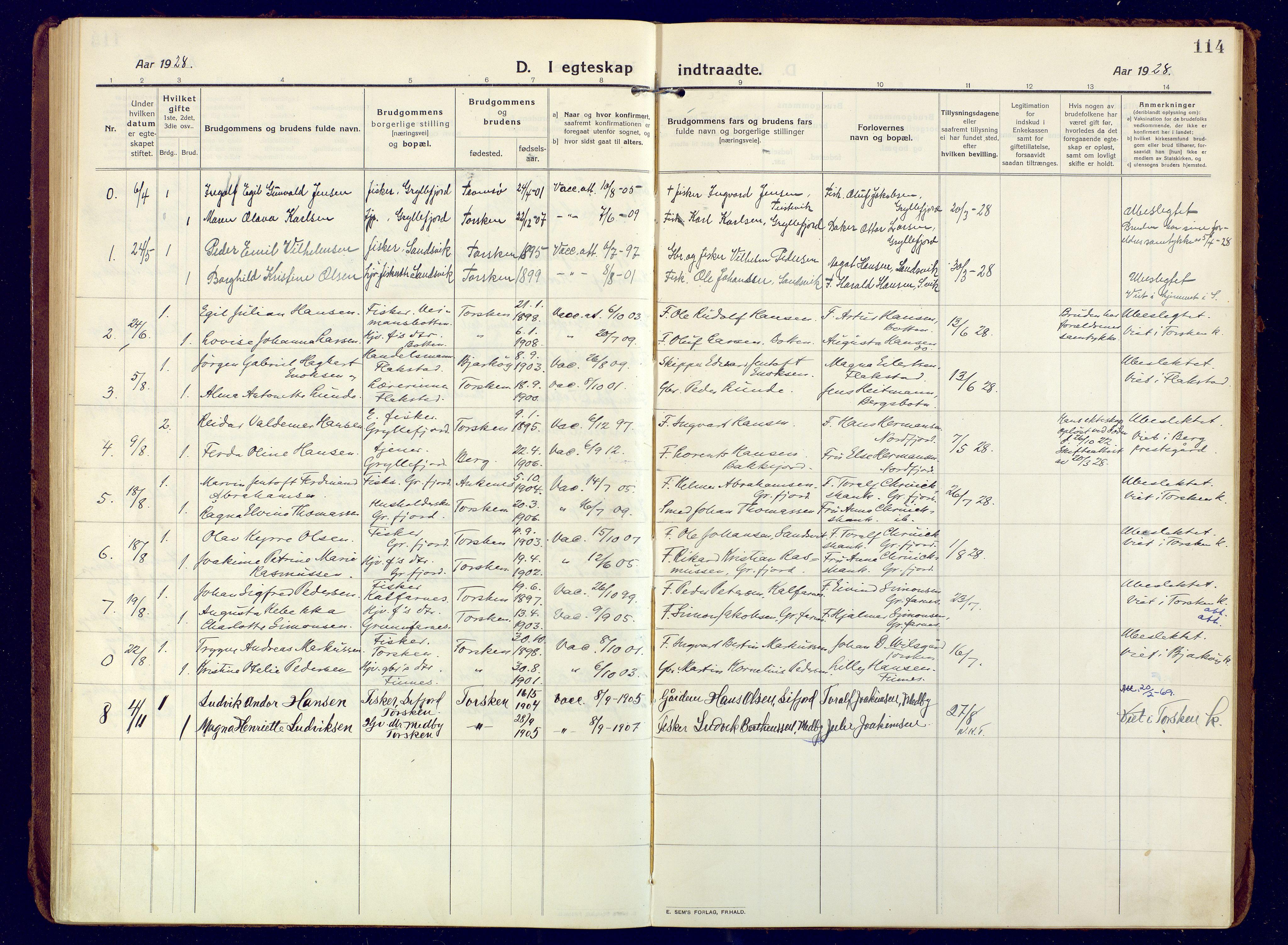 SATØ, Mefjord/Berg sokneprestkontor, G/Ga/Gaa: Ministerialbok nr. 10, 1916-1928, s. 114